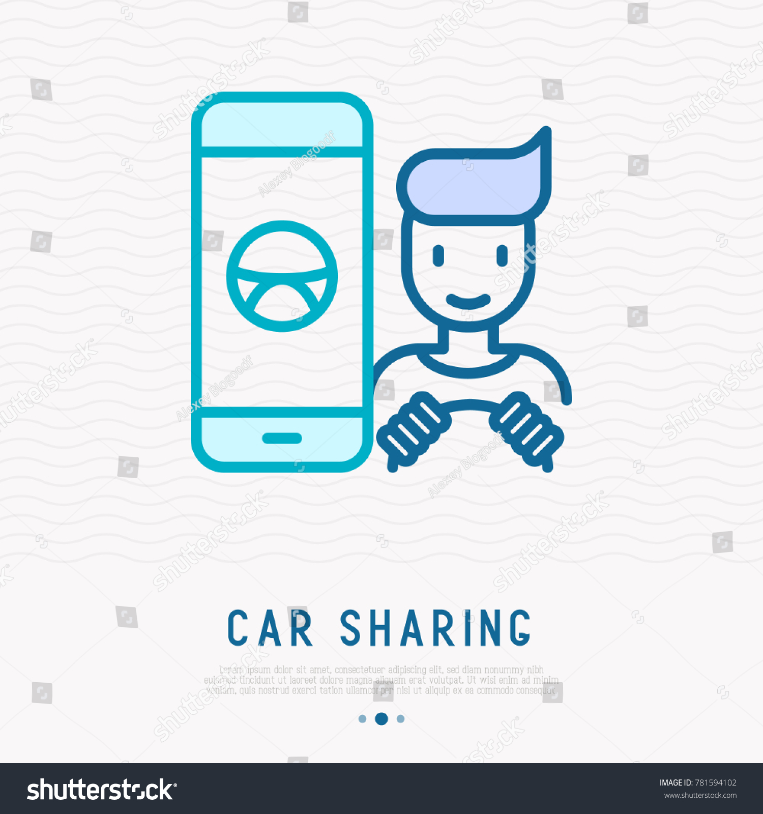 Car Sharing Concept Searching Car Through Stock Vector 781594102 ...