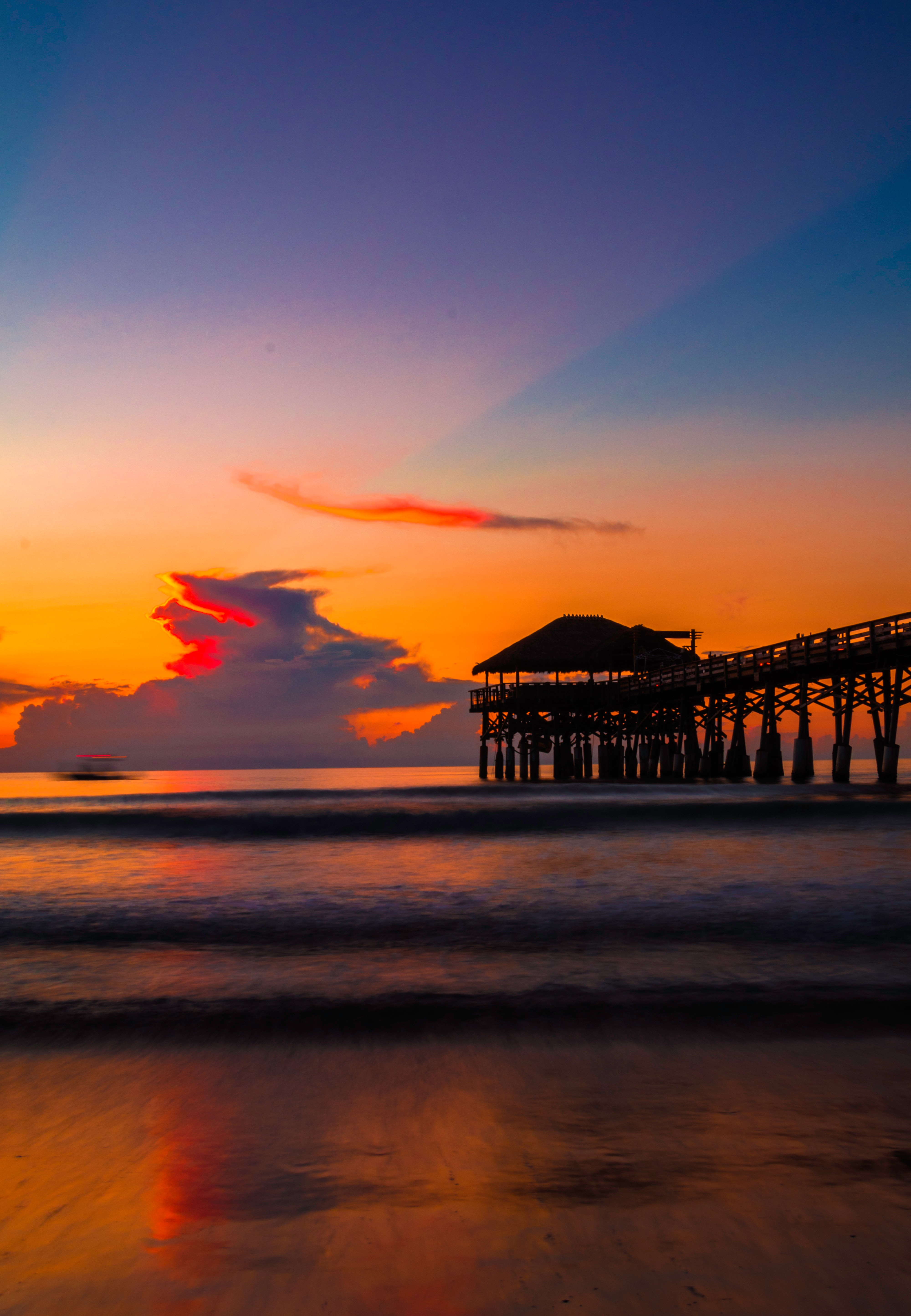 Photography of a dock during sunset