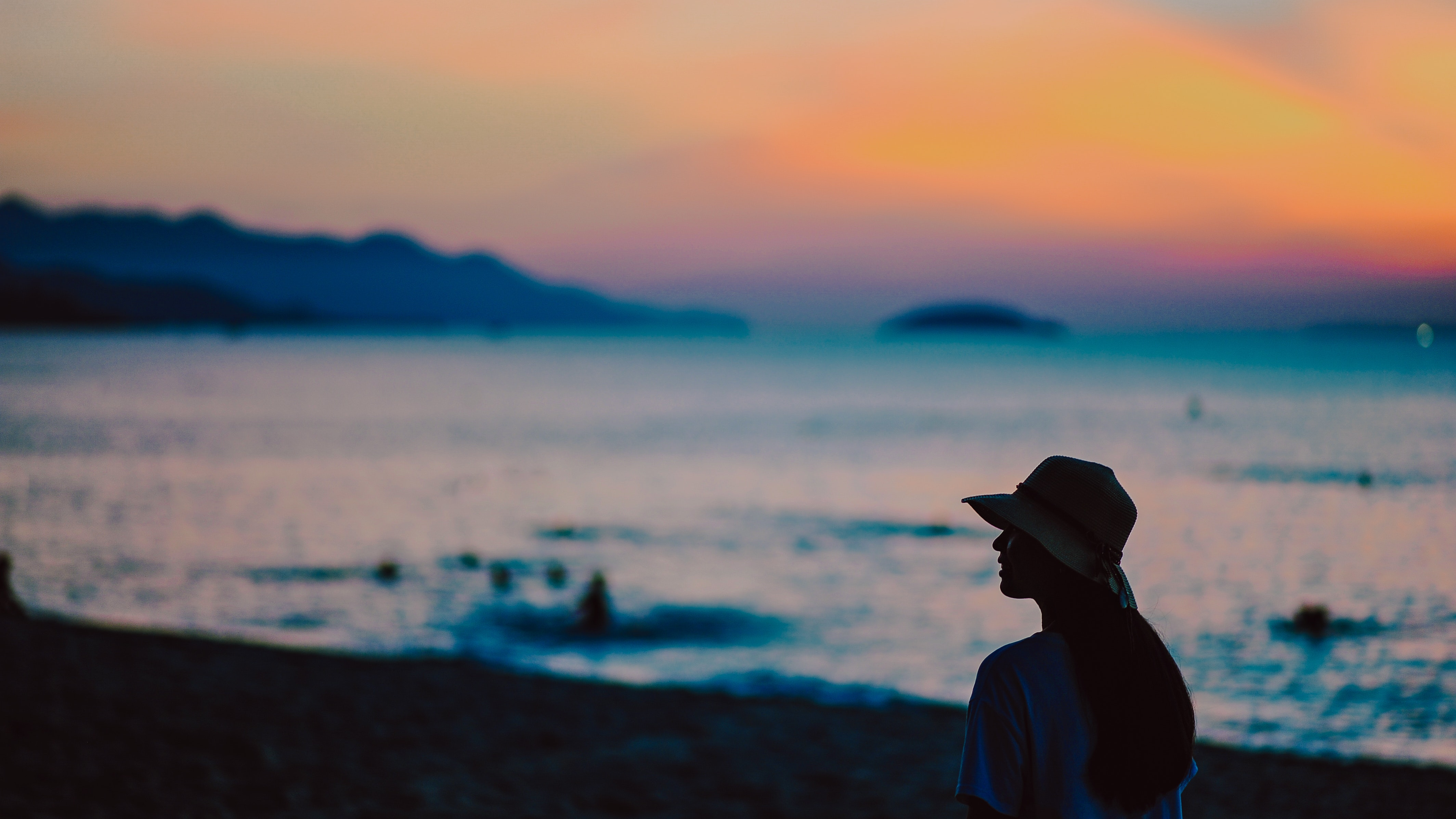 Photography of A Person During Dawn, Afterglow, Outdoors, Silhouette, Shore, HQ Photo