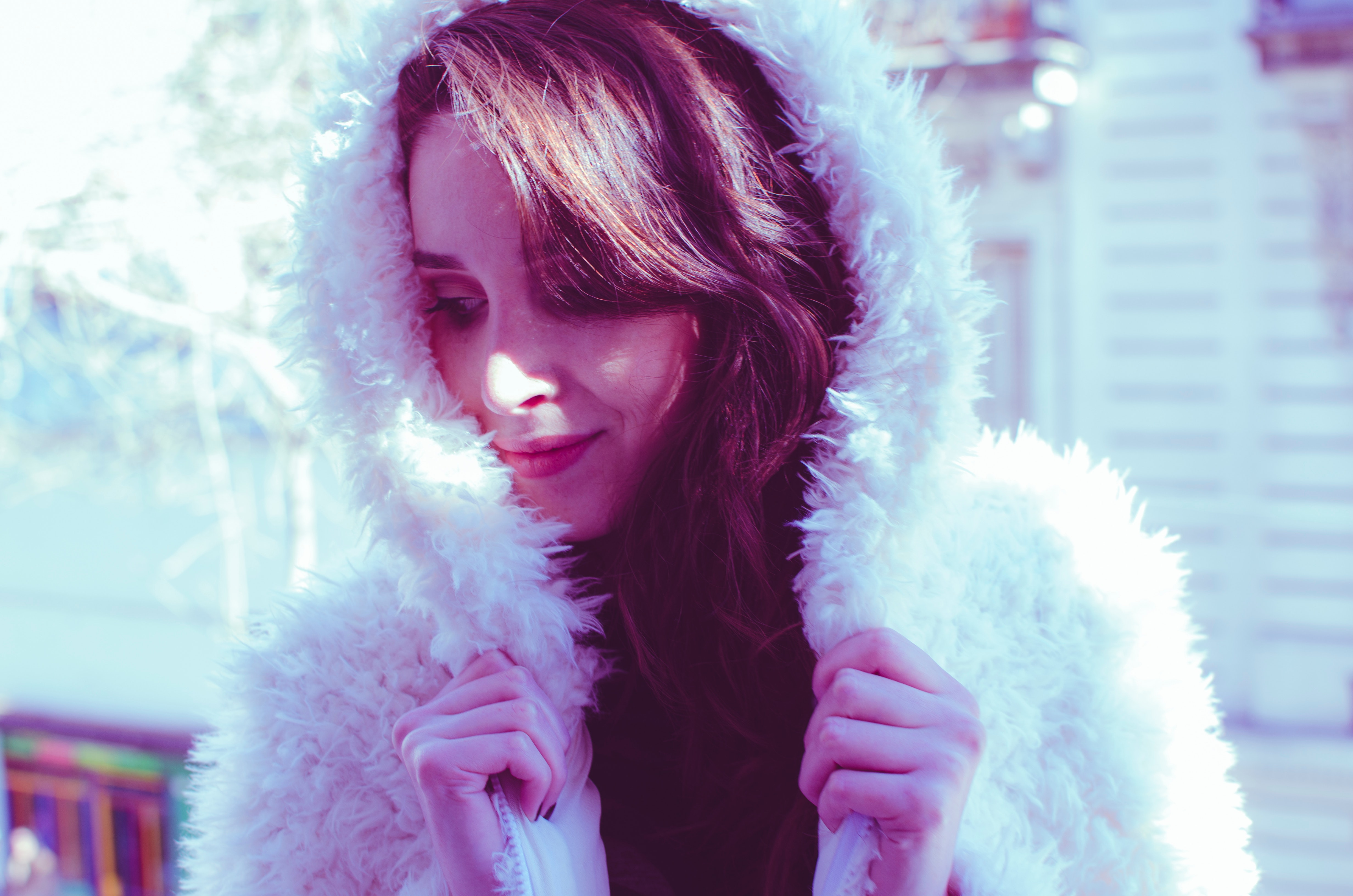 Photography of a Woman in White Fur Coat, Hands, Young, Woman, Winter, HQ Photo