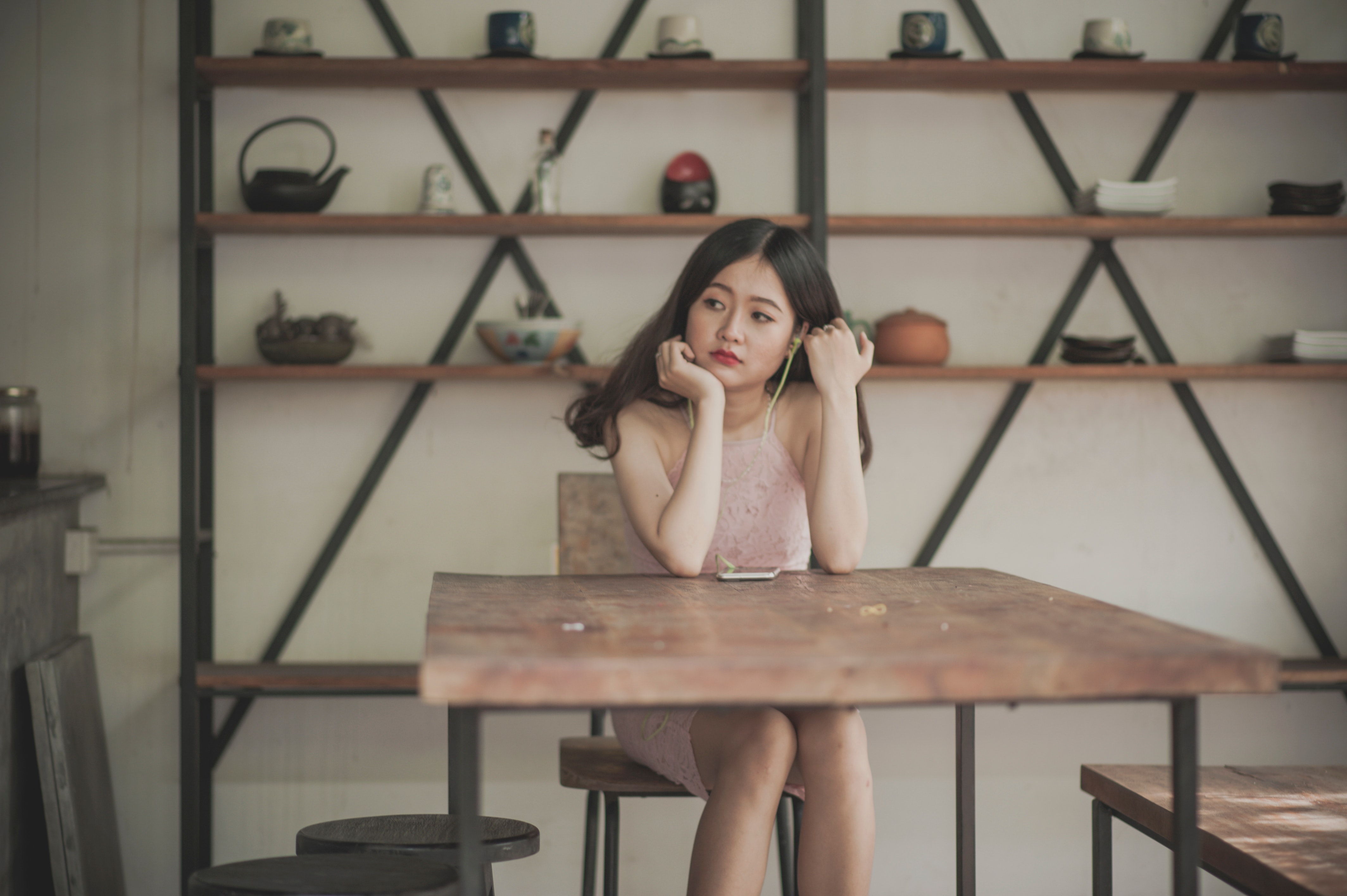 Photography of a Woman Sitting on The Chair Listening to Music, Asian, Pretty, Wood, Woman, HQ Photo