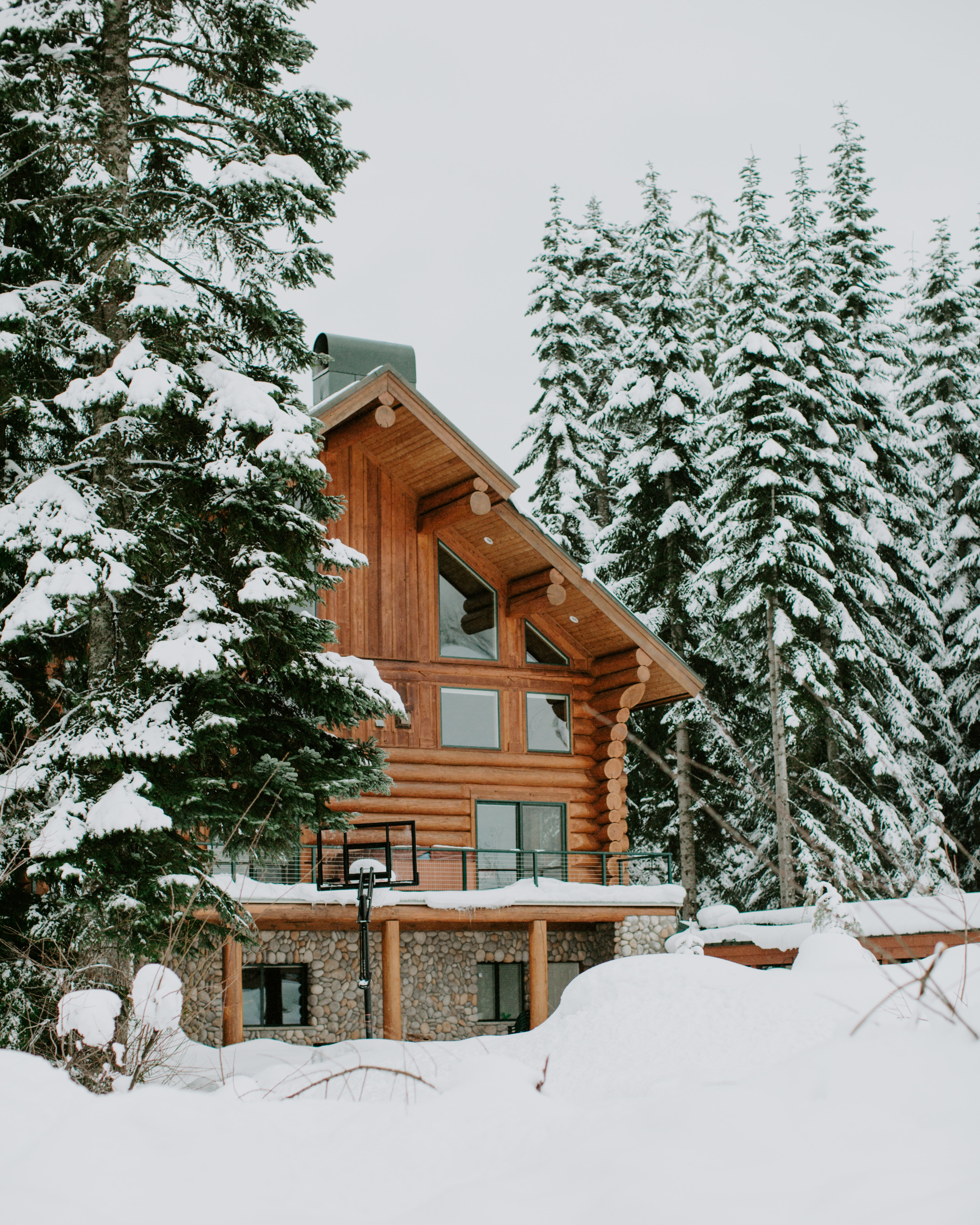 Photography of Brown House Surrounded by Trees Covered by Snow, Architecture, Icy, Wooden house, Winter, HQ Photo