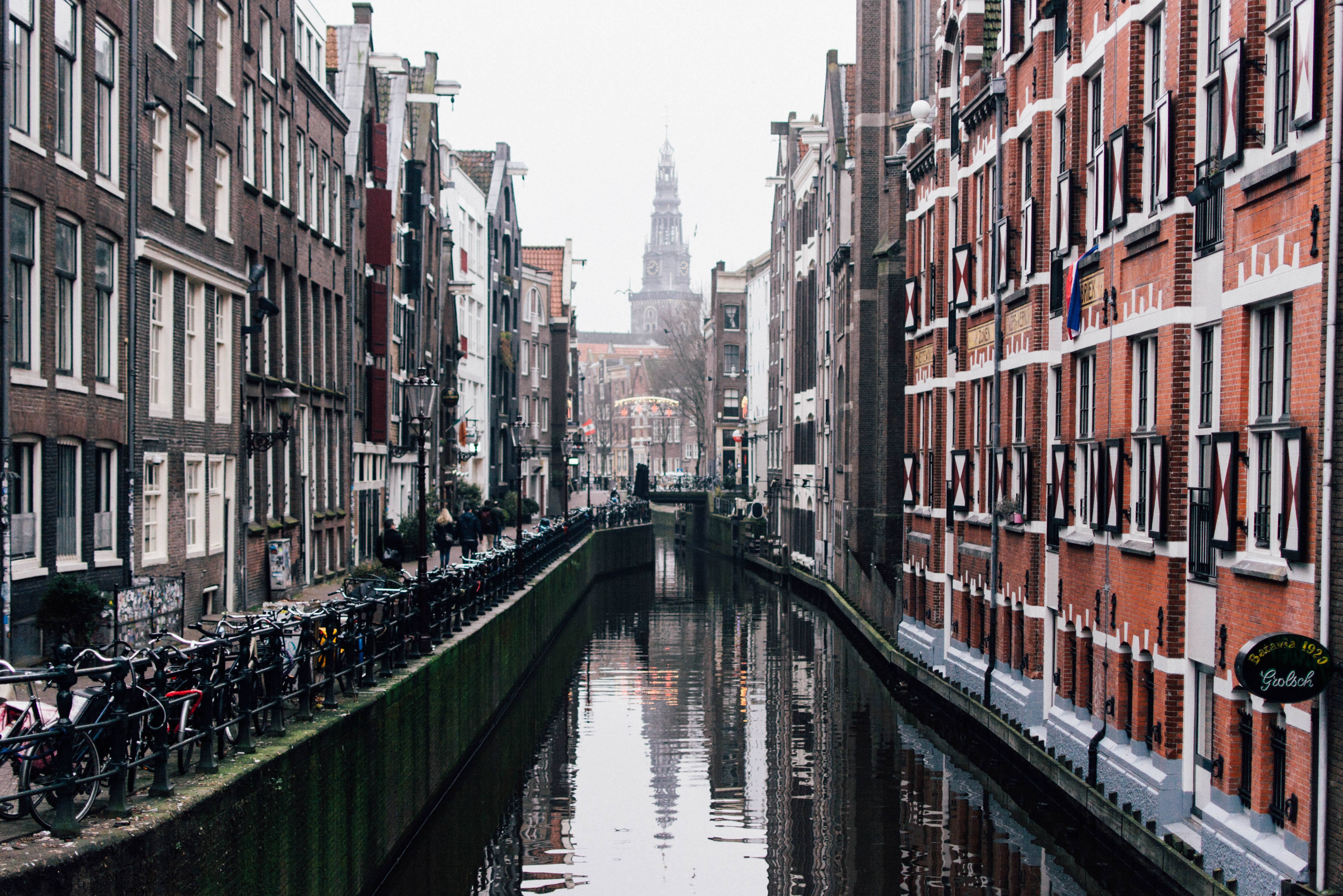 Photography of Buildings Near the Canal, Amsterdam, Misty, Water, Urban, HQ Photo