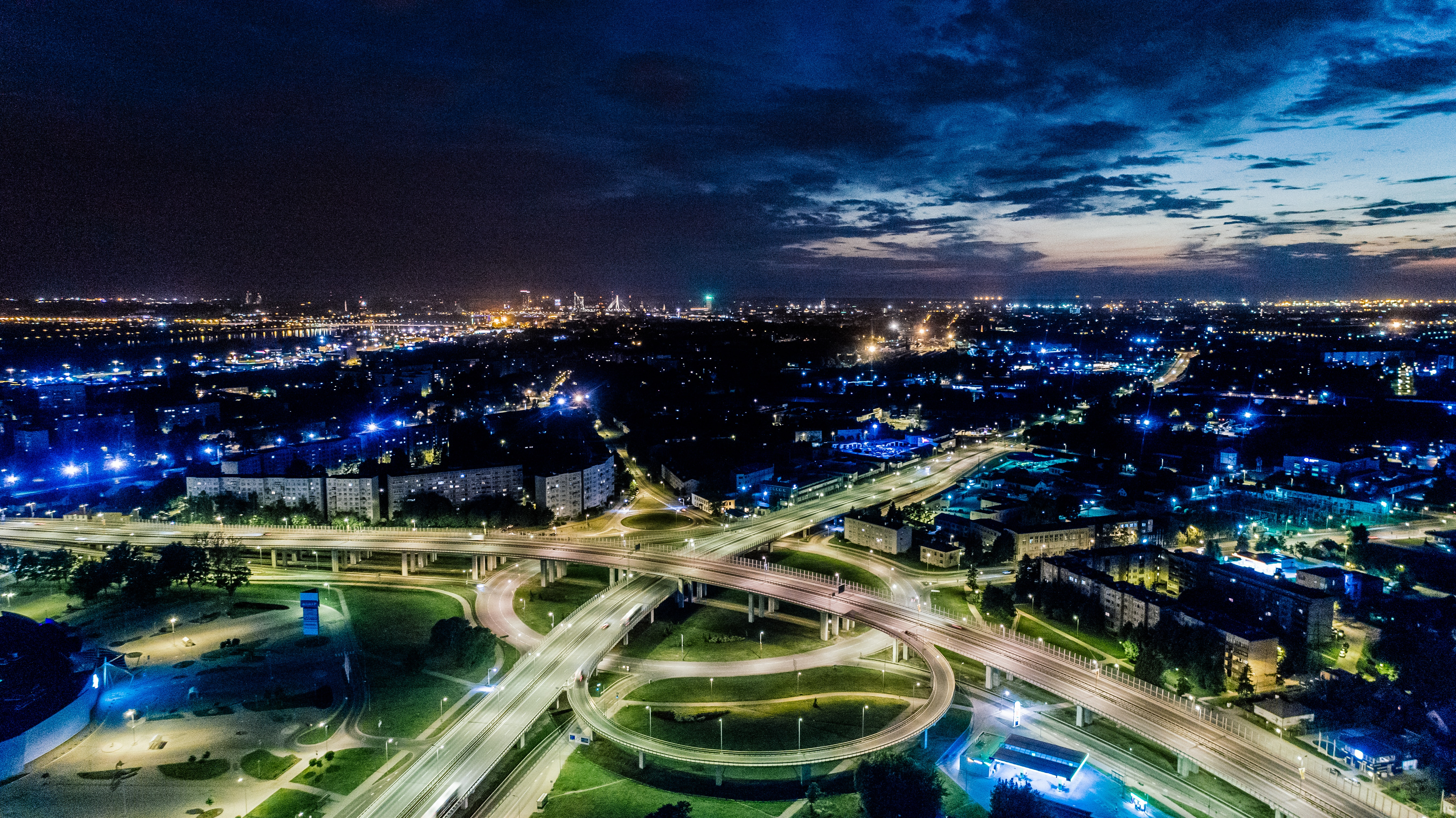 Photography of City during Nighttime, Aerial view, Modern, Travel, Transportation system, HQ Photo