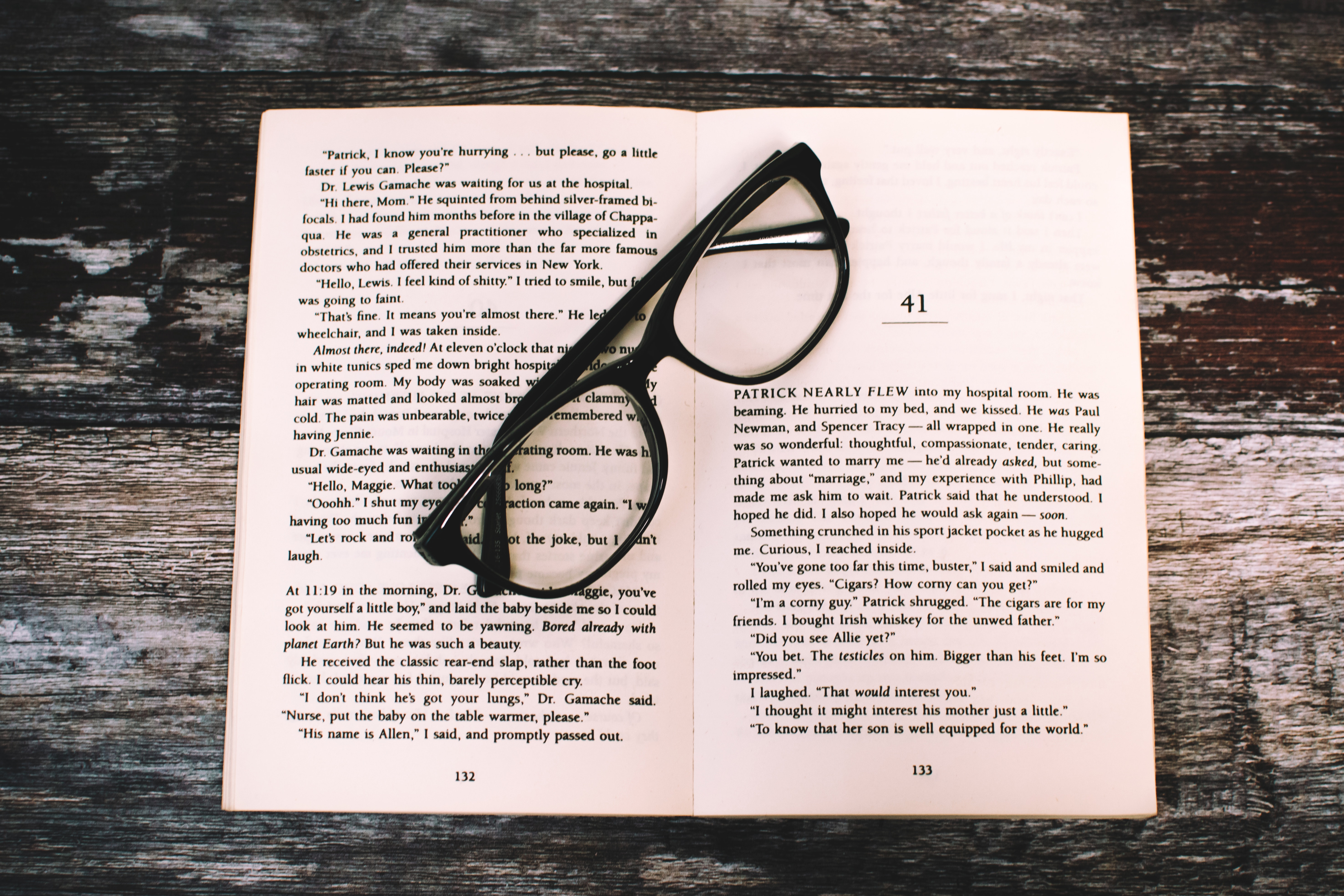 Photography of Eyeglasses on Top of Book, Table, Writing, Words, Wooden surface, HQ Photo