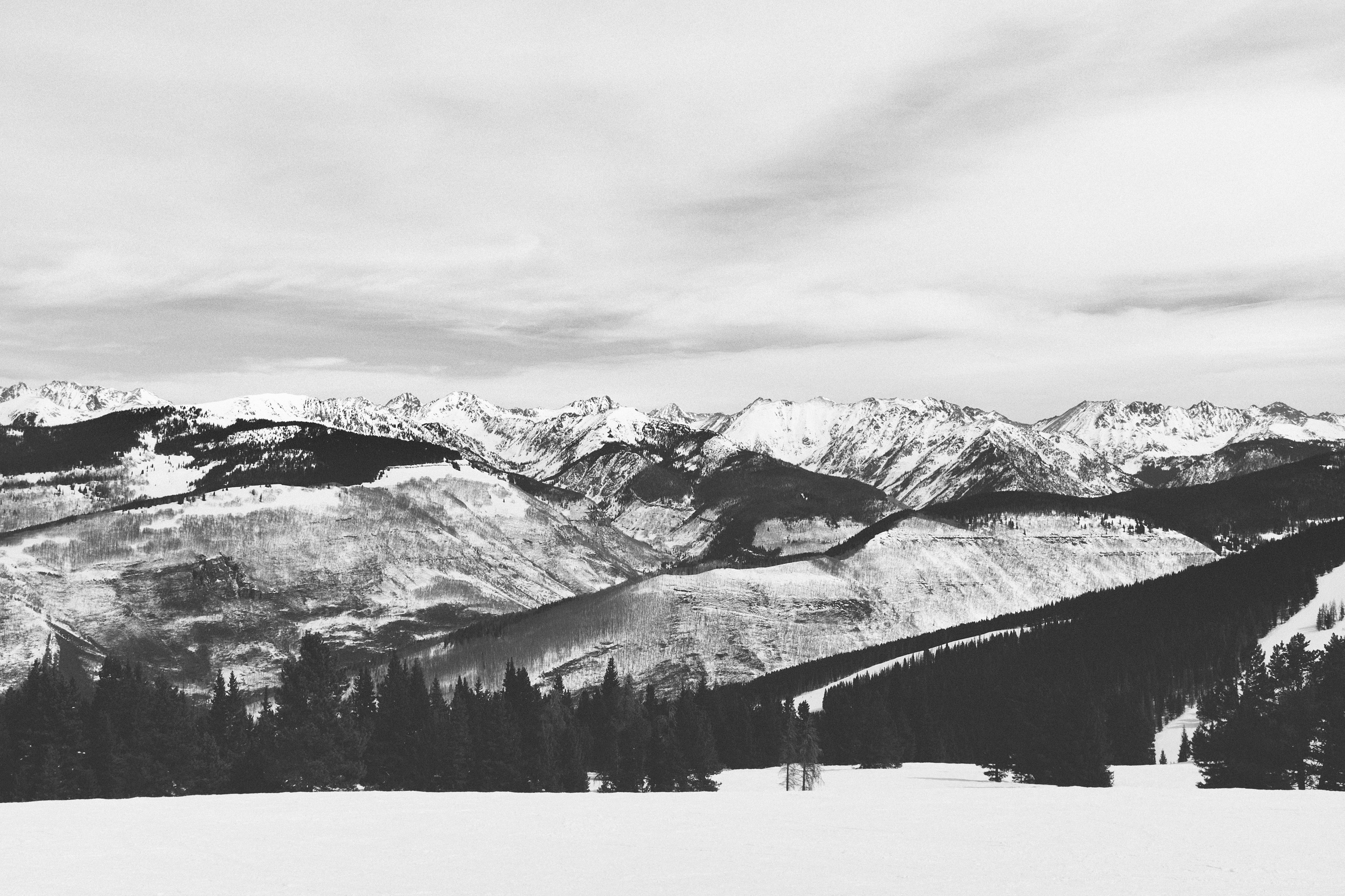 Free Images : snow, winter, black and white, mountain range, weather ...