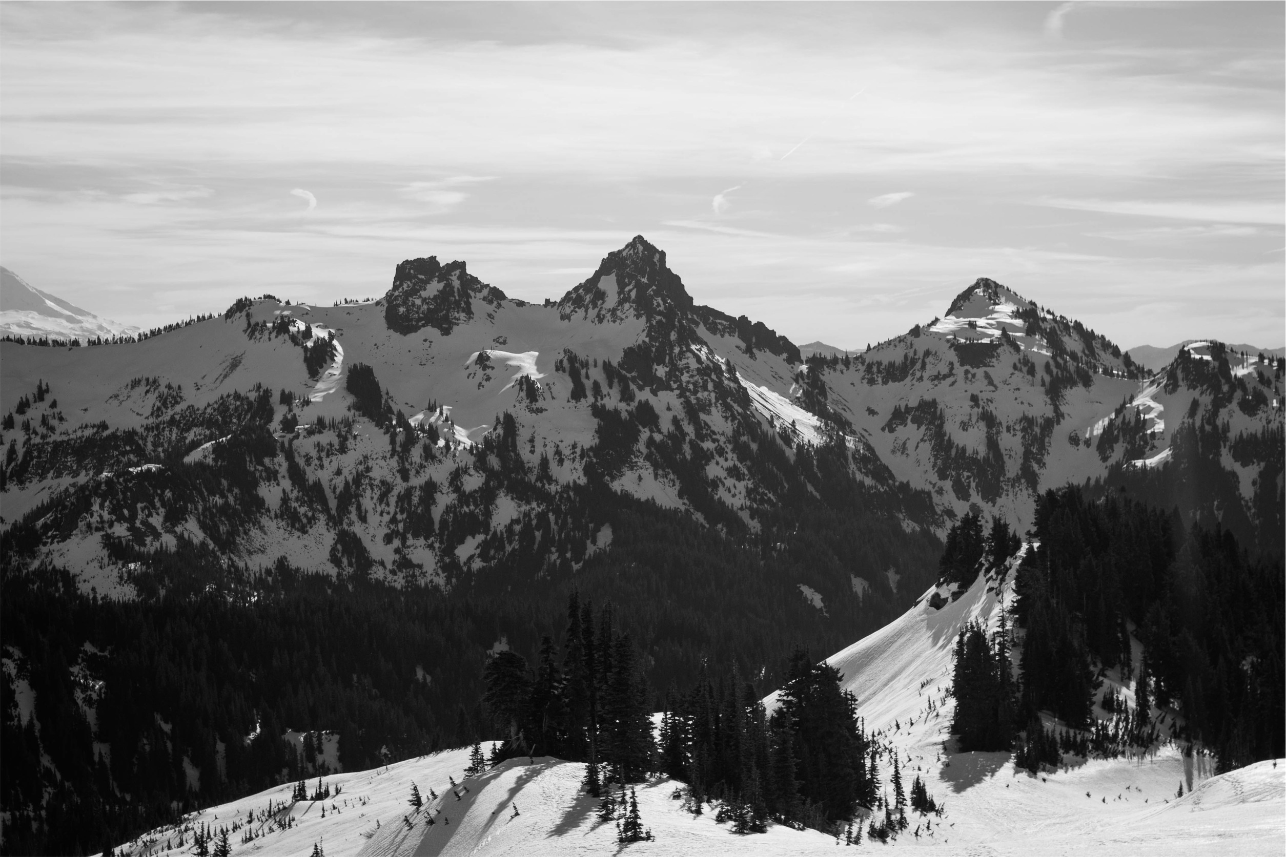 Free Images : landscape, snow, winter, black and white, mountain ...