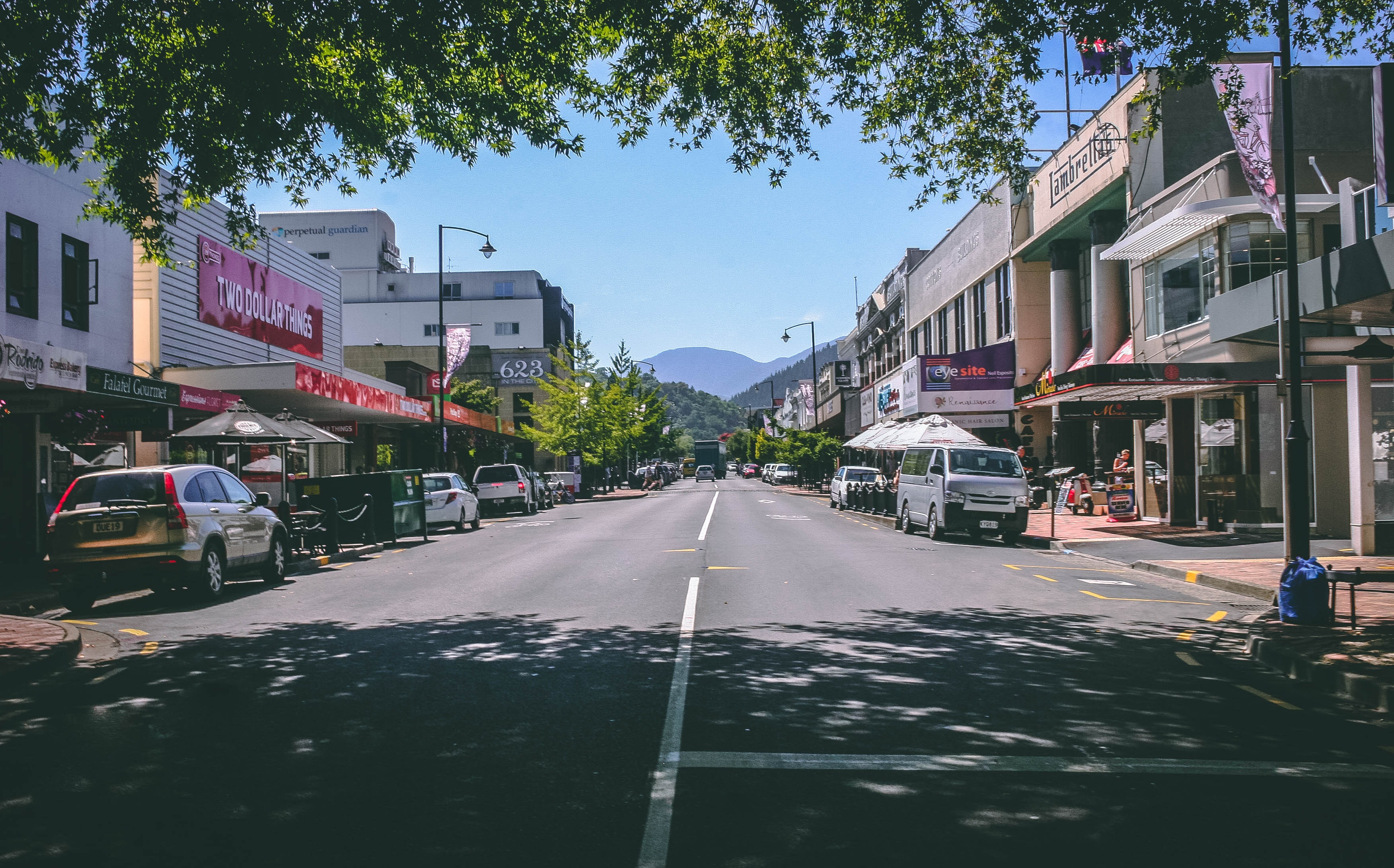 Photography of Roadway With Parked Cars, Architecture, Shops, Urban, Trees, HQ Photo