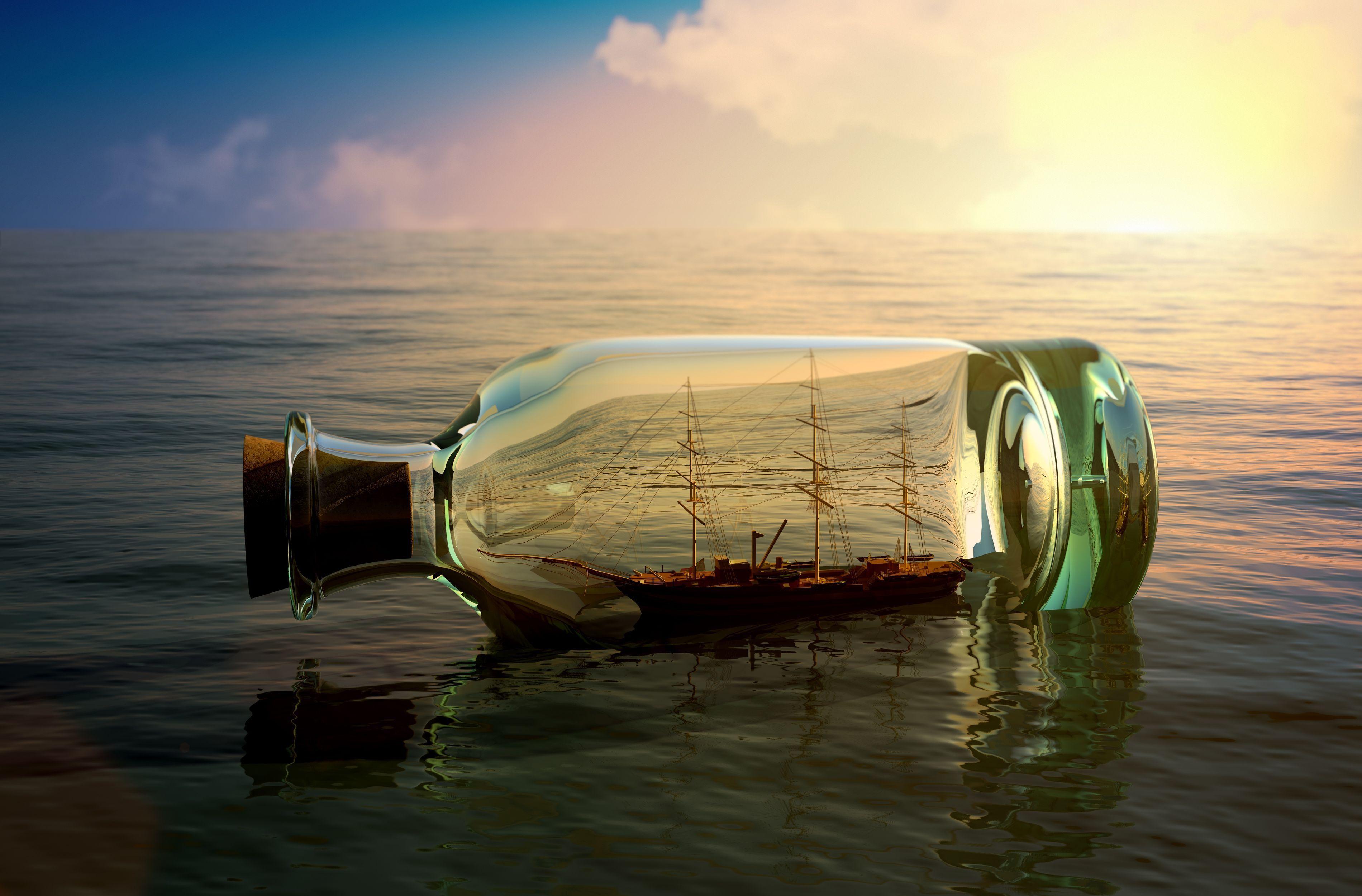 Ship in the bottle / 3800 x 2500 / Fantasy / Photography | MIRIADNA.COM