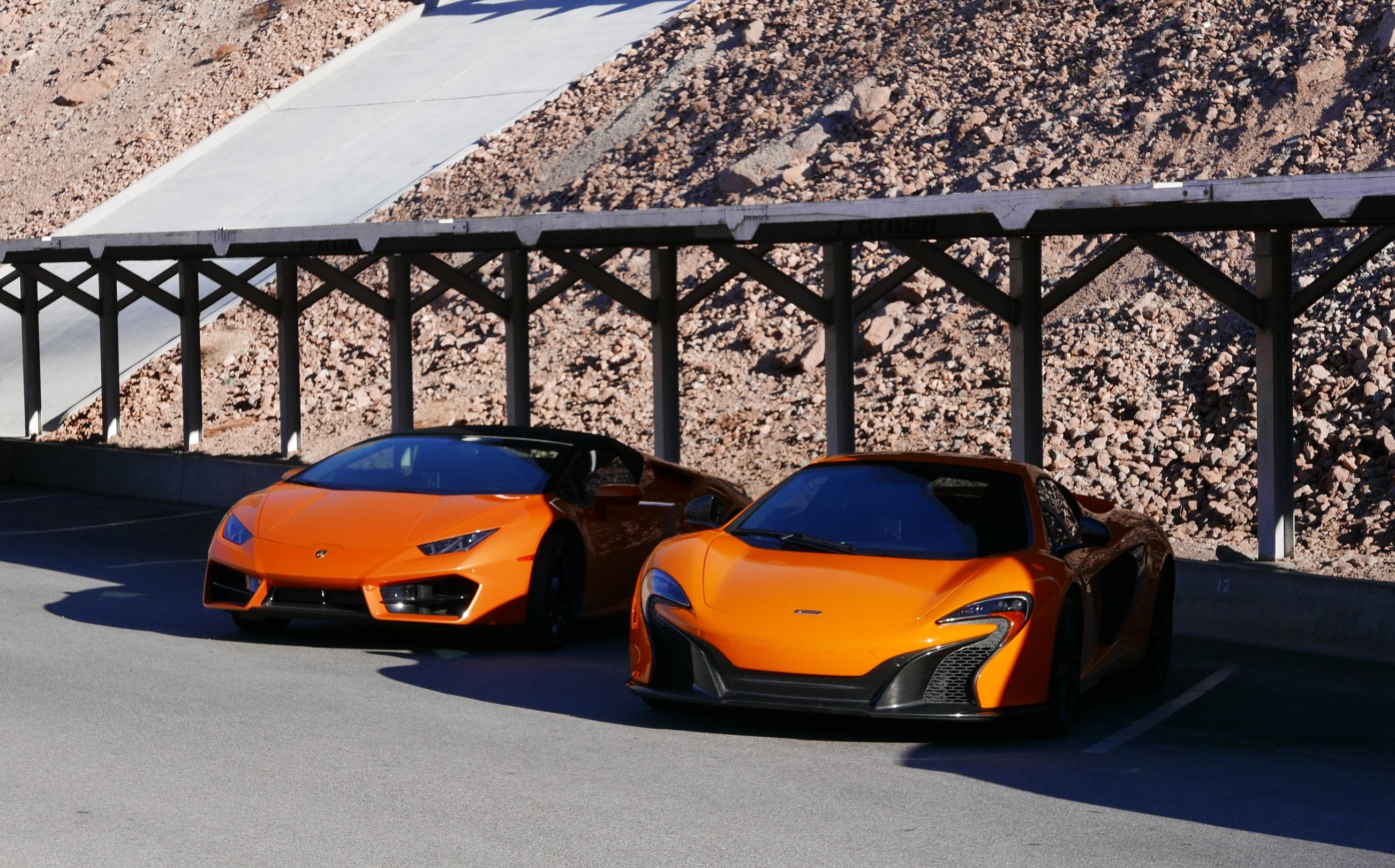 Photography of Two Orange Sports Car, Asphalt, Luxury, Wheels, Vehicles, HQ Photo
