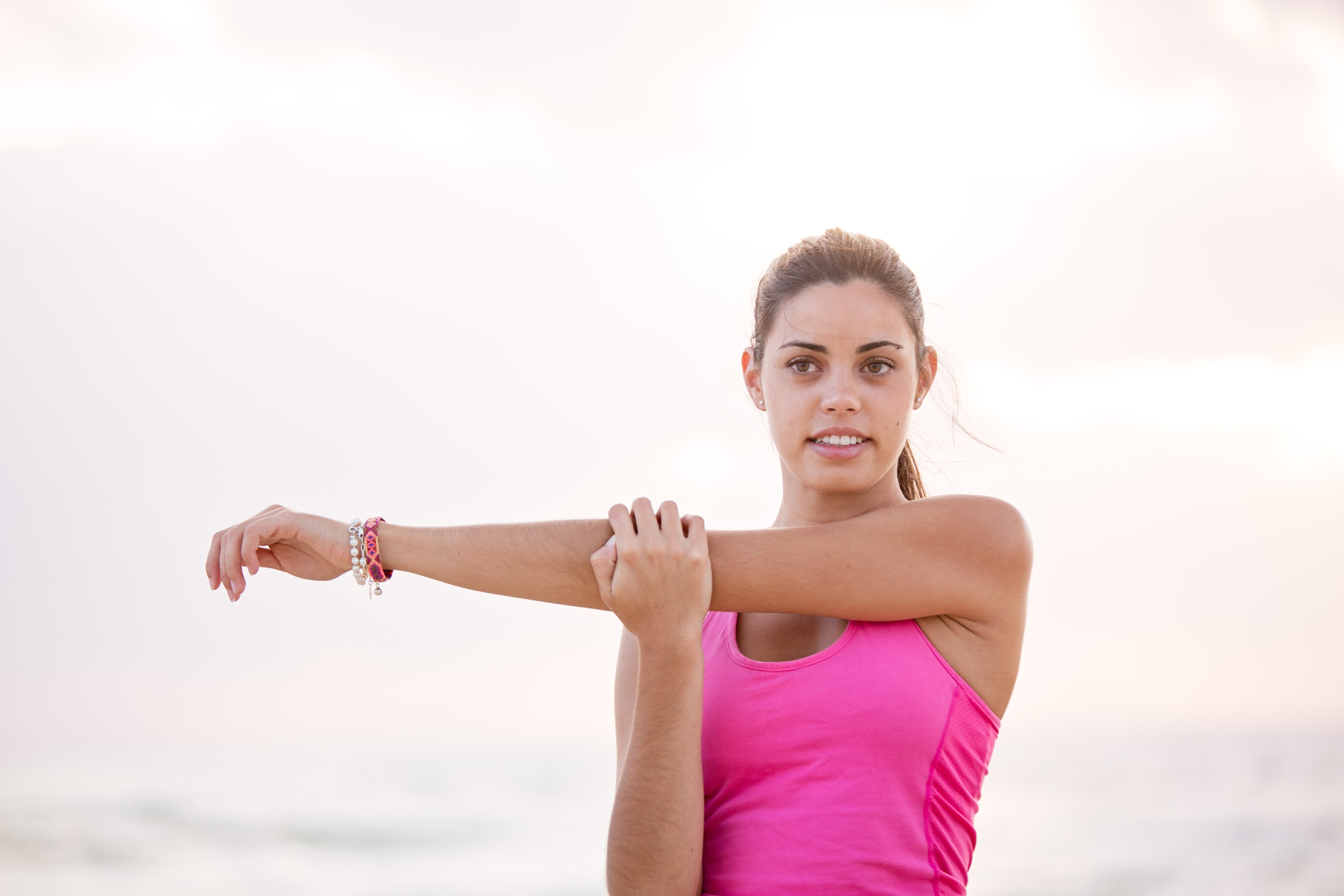 Photography of Woman in Pink Tank Top Stretching Arm, Active, Lifestyle, Woman, Stretching, HQ Photo