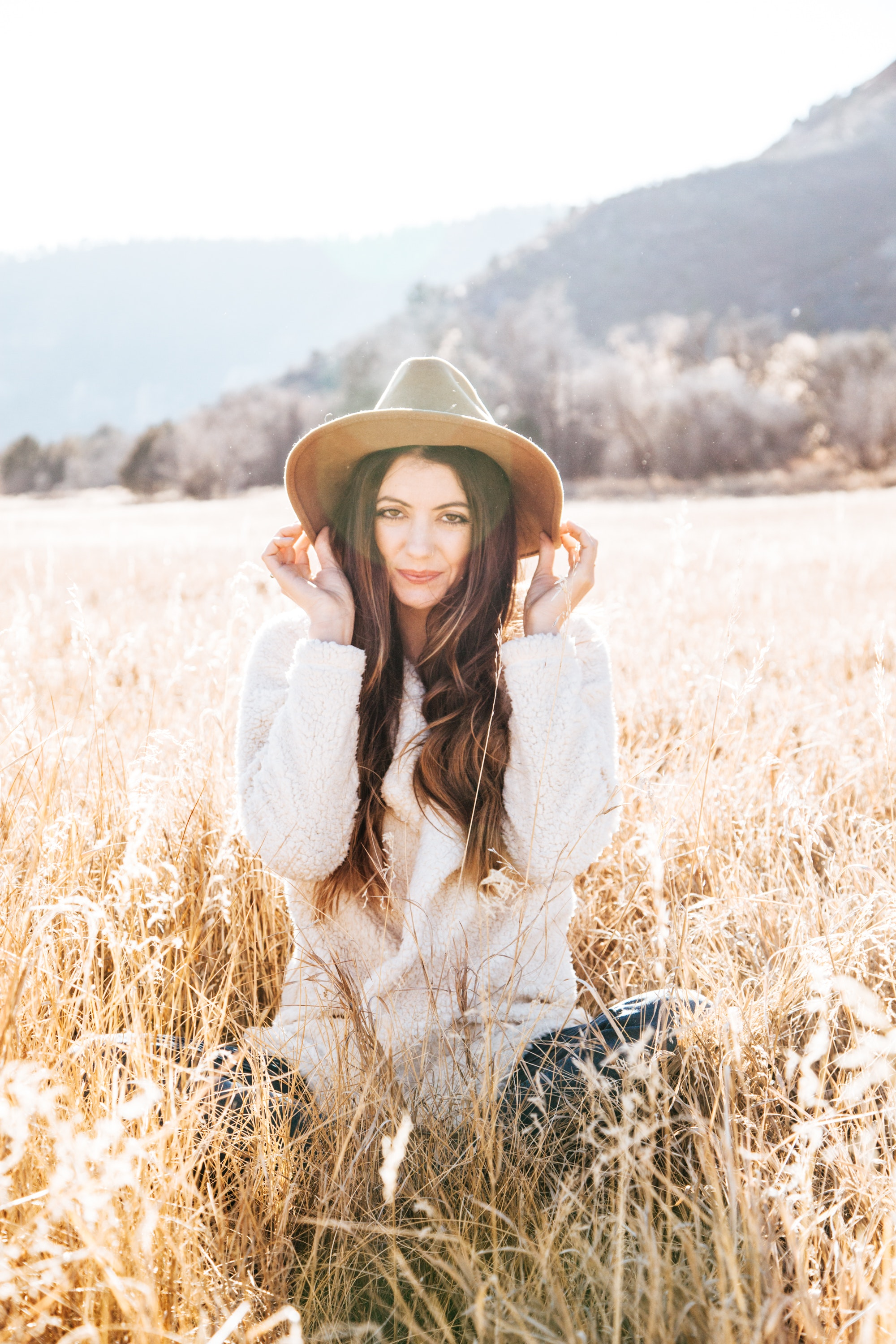 Photography of Woman on Brown Field, Barley field, Smile, Outside, Park, HQ Photo