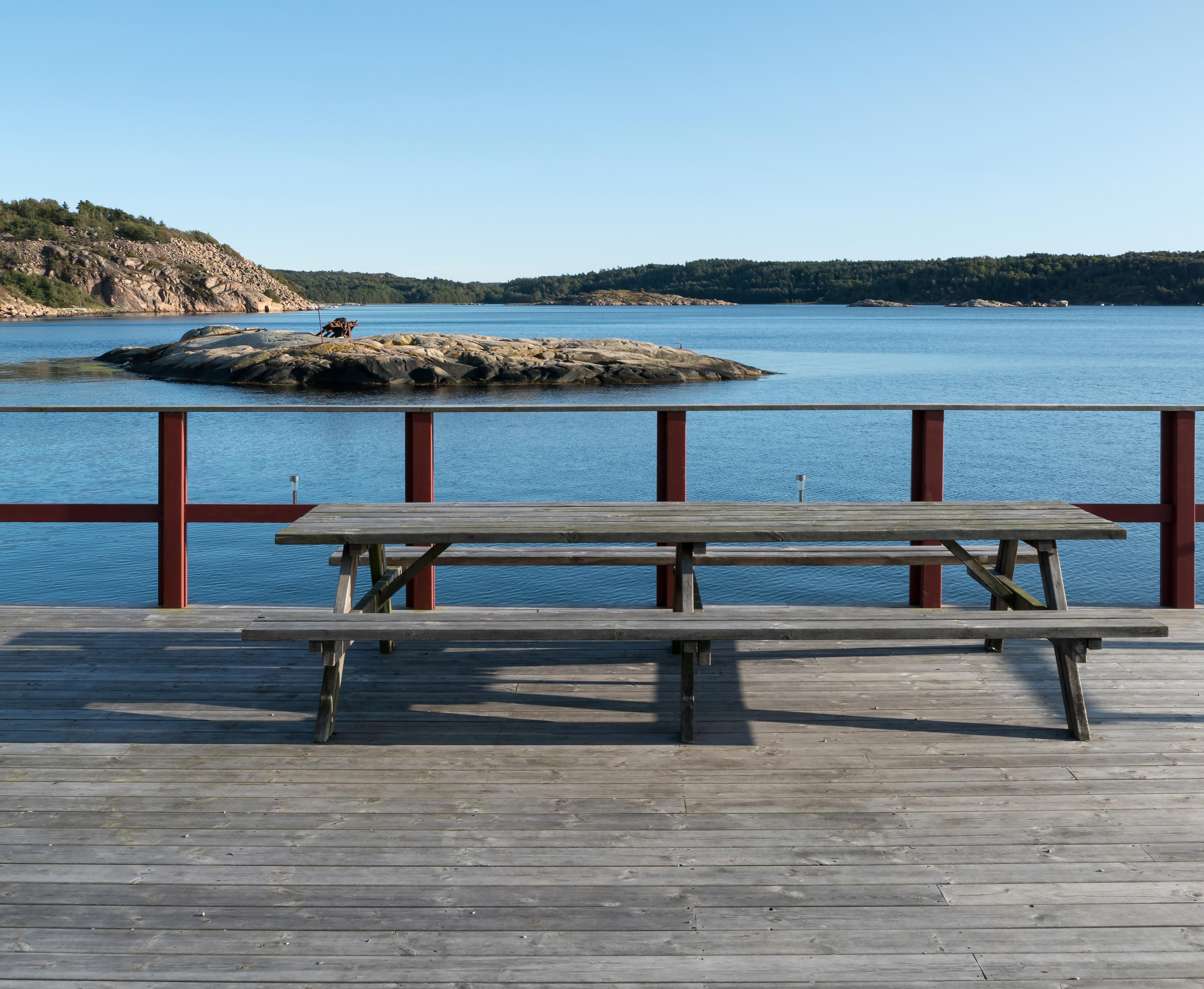 Picnic area overlooking Trommekilen 1, Bay, Blue, Cliffs, Forest, HQ Photo