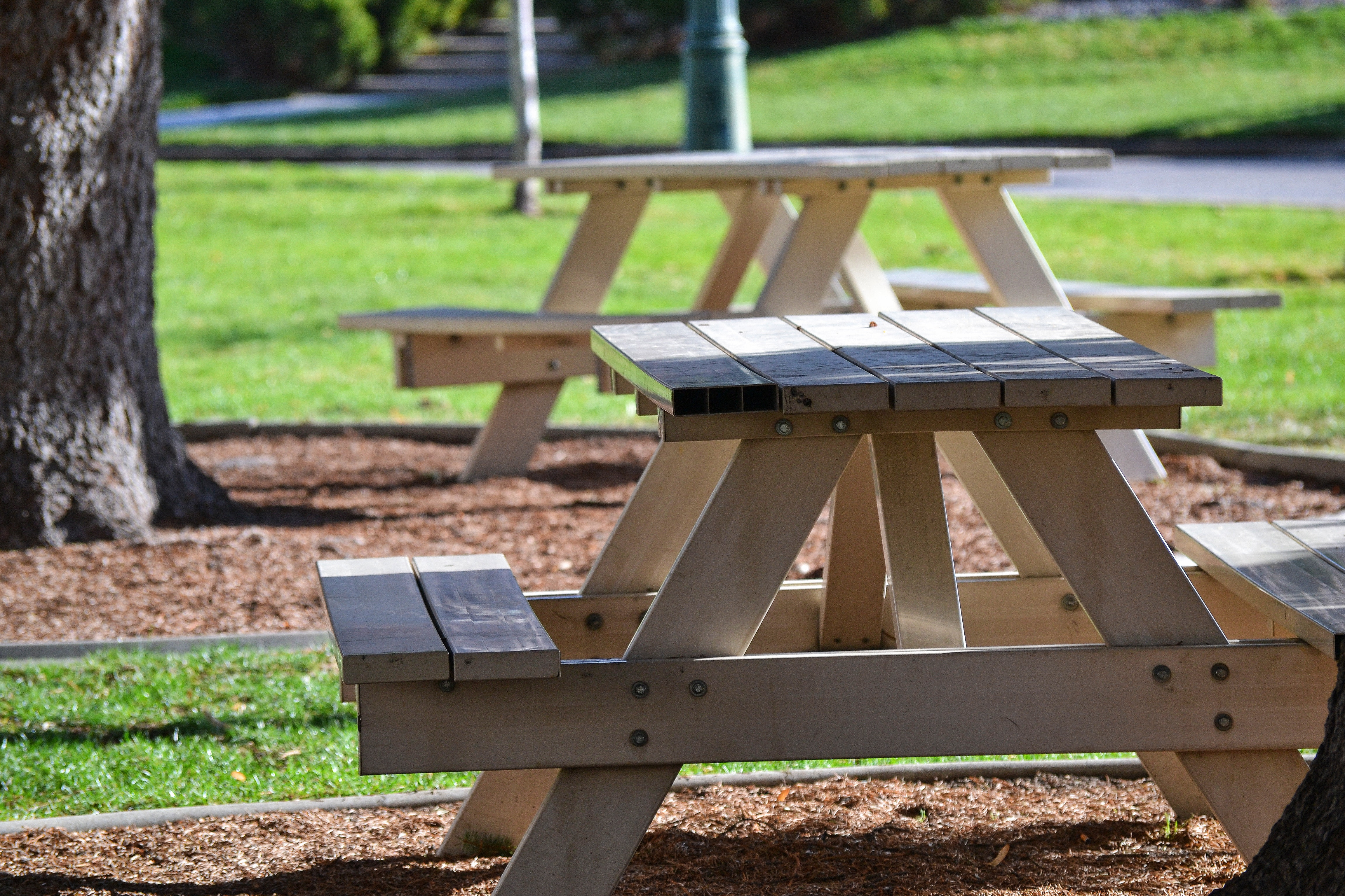 Picnic table on the grass in the city park, Picnic table on the grass in the city park