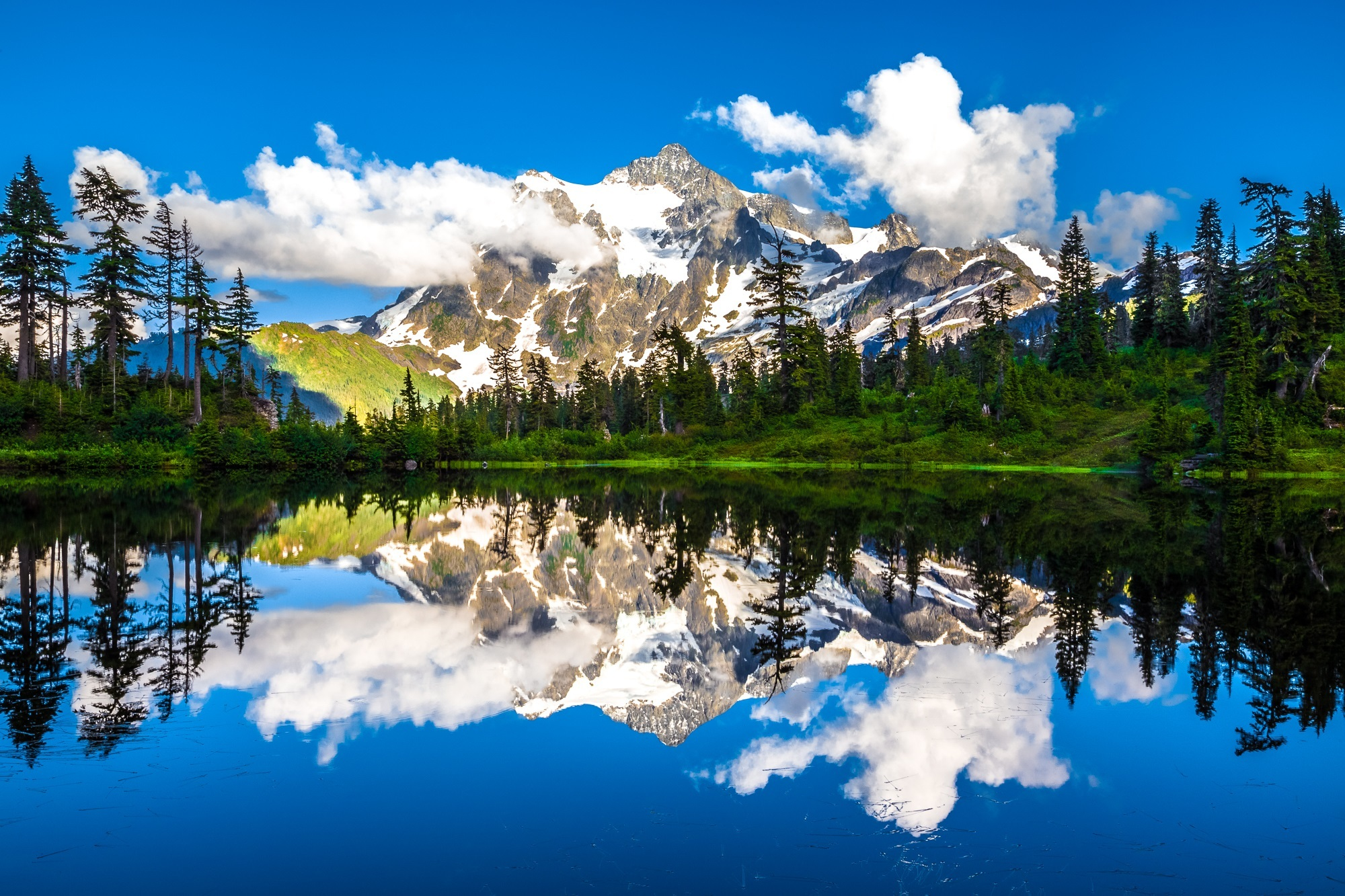 Picture Lake, River, Range, Valley, Water, HQ Photo