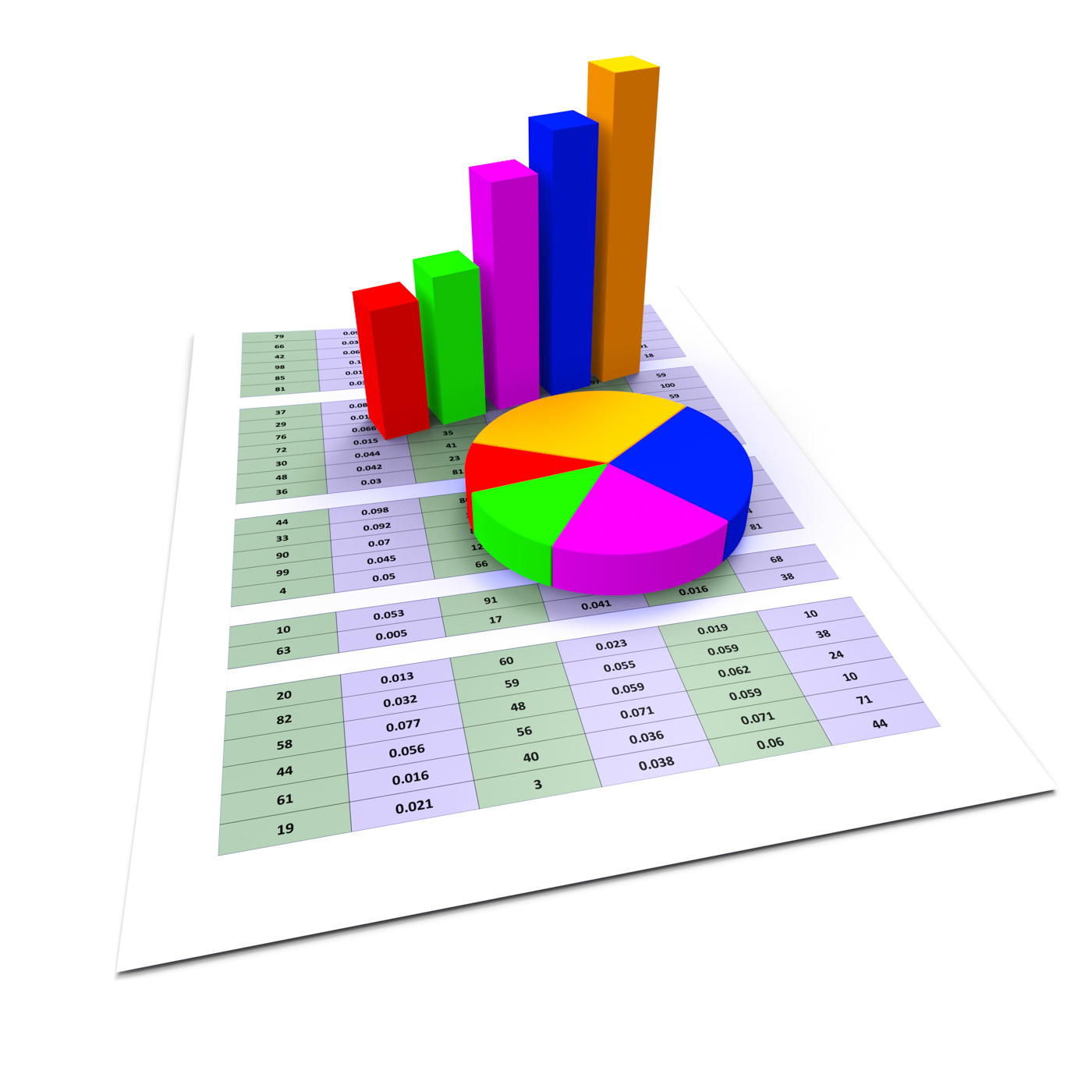 Pie chart shows business graph and charting photo