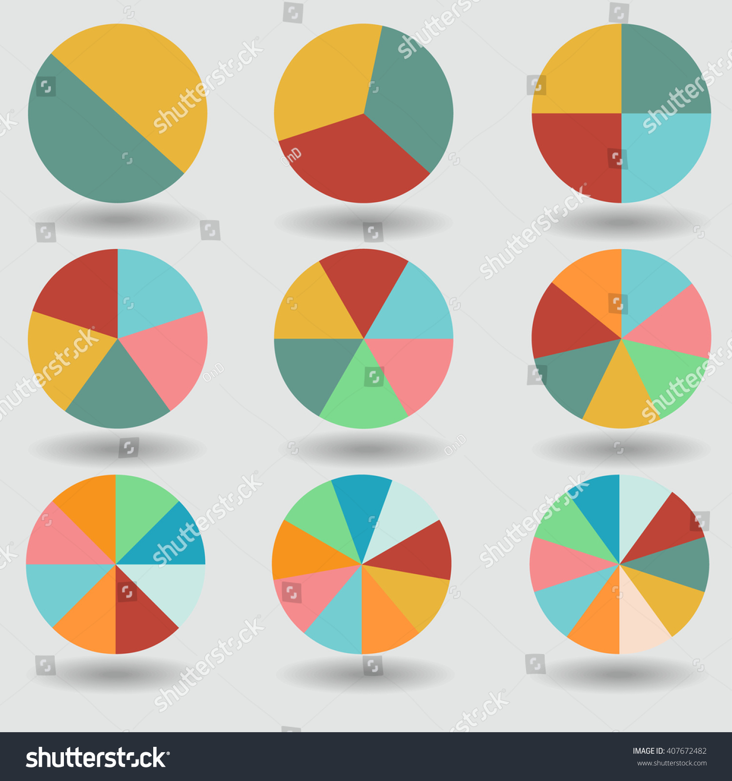 Pie Graph Circle Chart Set Illustration Stock Vector 407672482 ...
