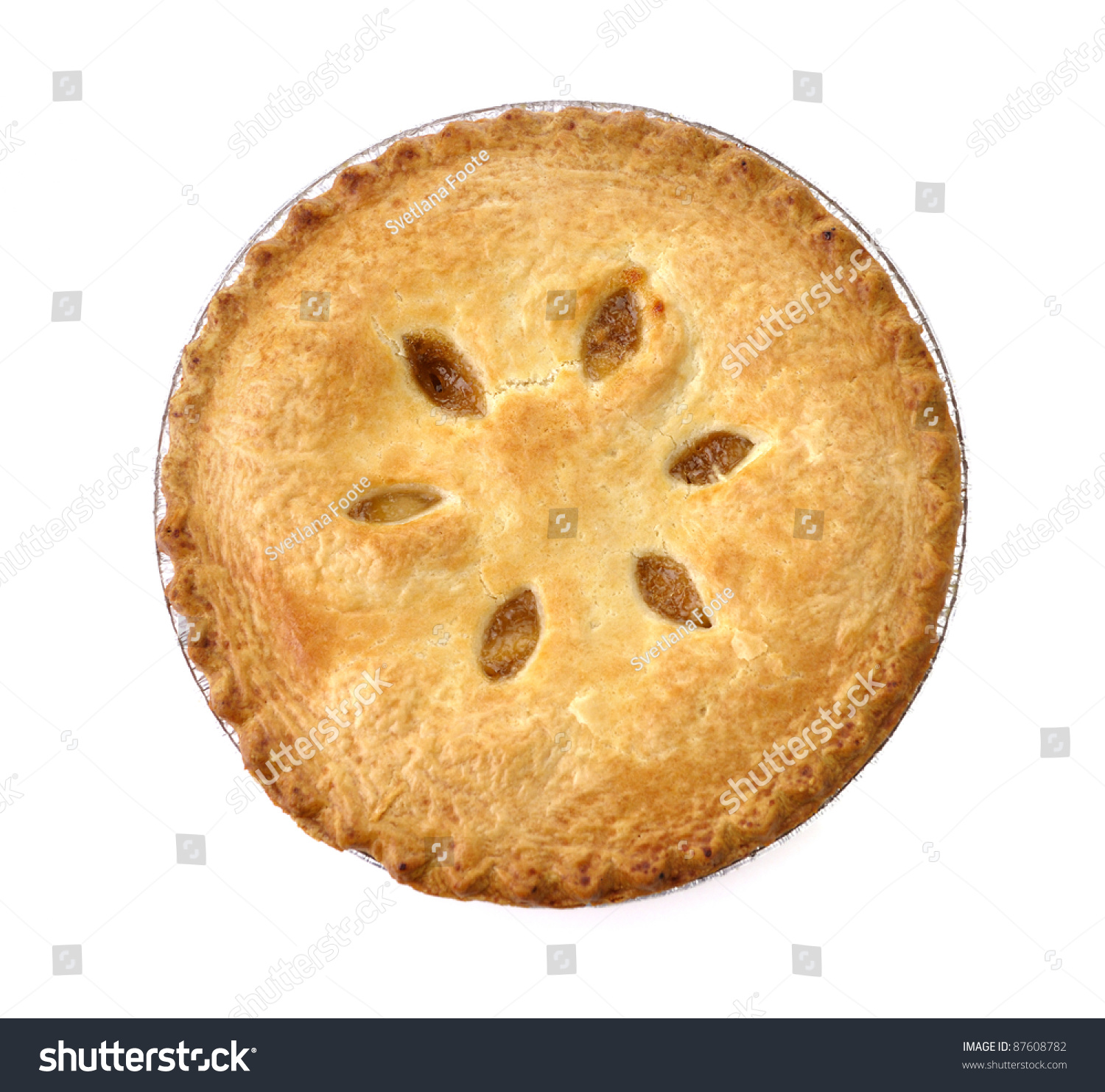 Apple Pie On White Background Top Stock Photo & Image (Royalty-Free ...