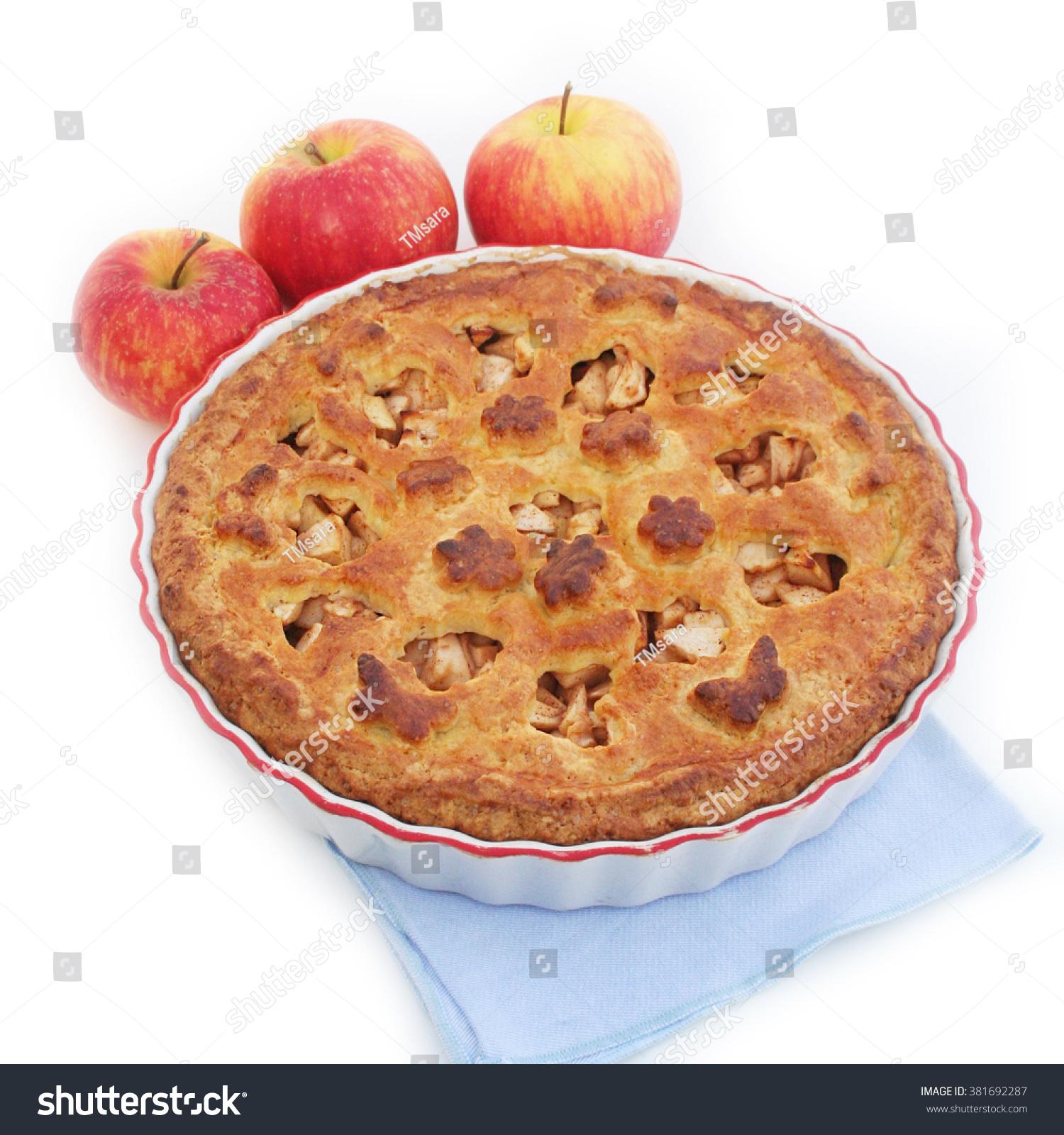 Homebaked Apple Pie On White Background Stock Photo (Royalty Free ...