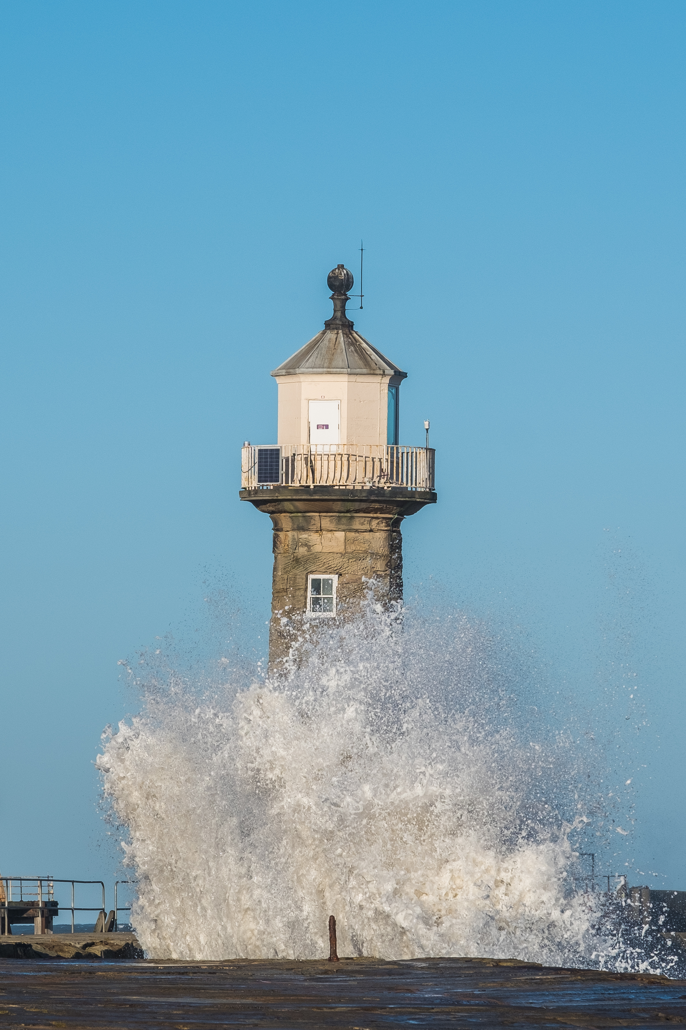 Waves At Whitby East Pier Lighthouse - A5 Greetings Card - Whitby ...