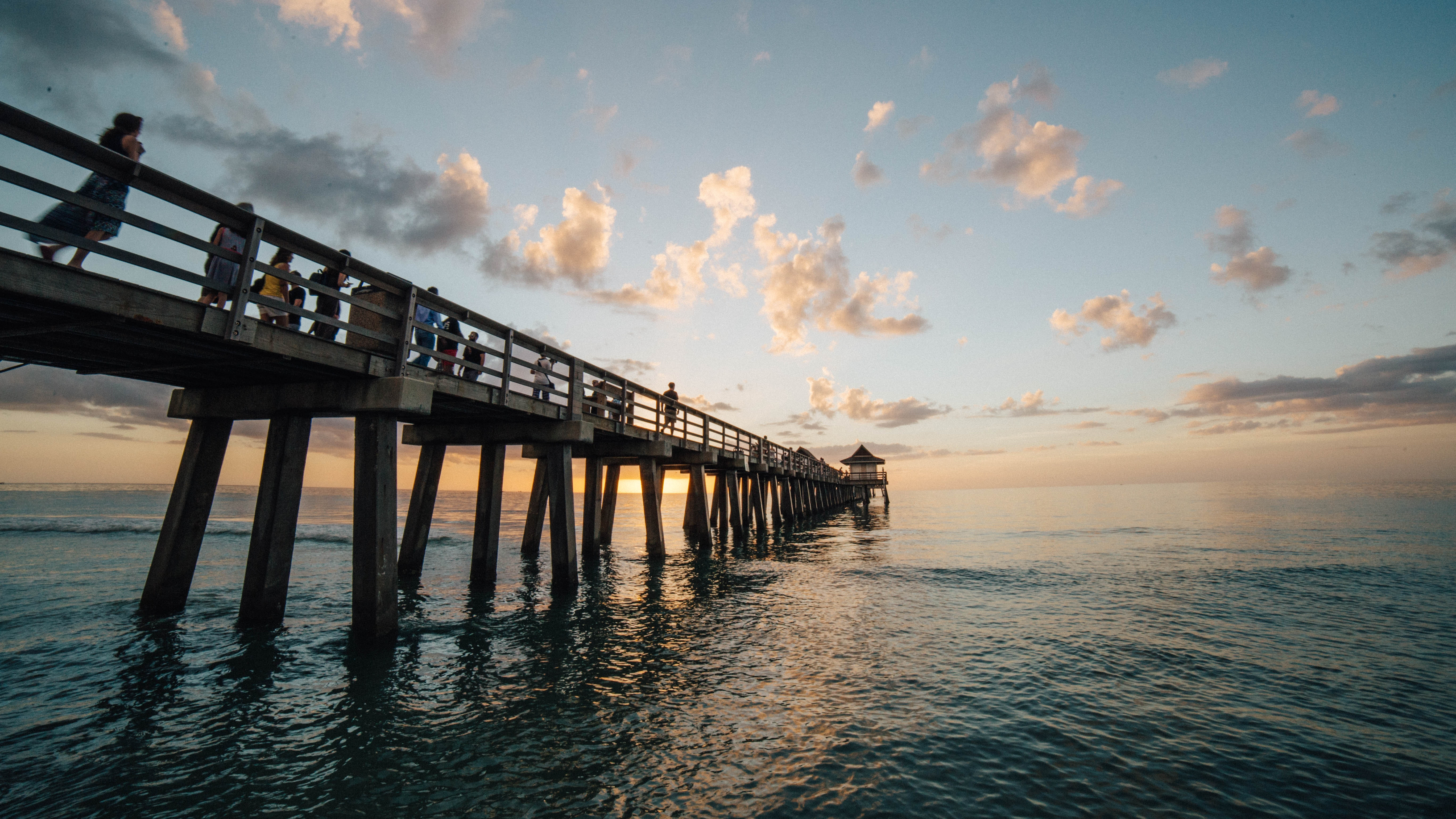 Pier on Sea Against Cloudy Sky, Scenic, Wood, Water, Travel, HQ Photo