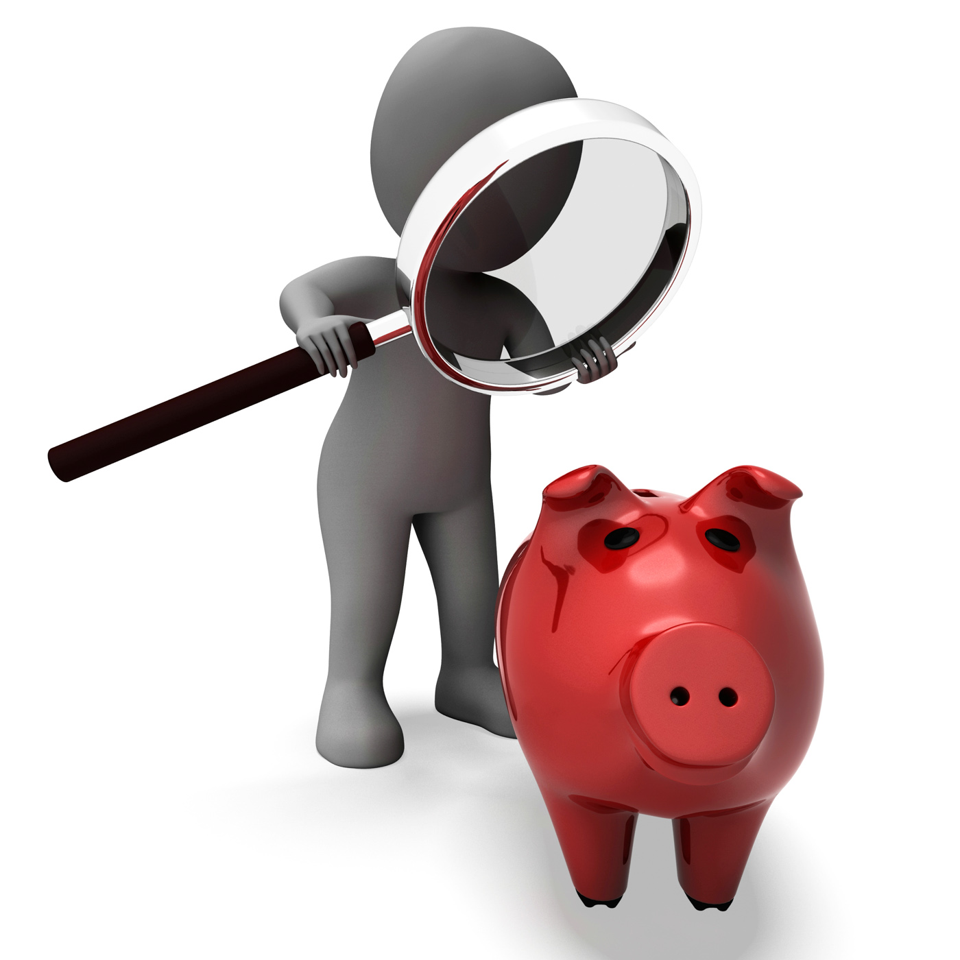 Piggy bank and character shows savings finances and banking photo