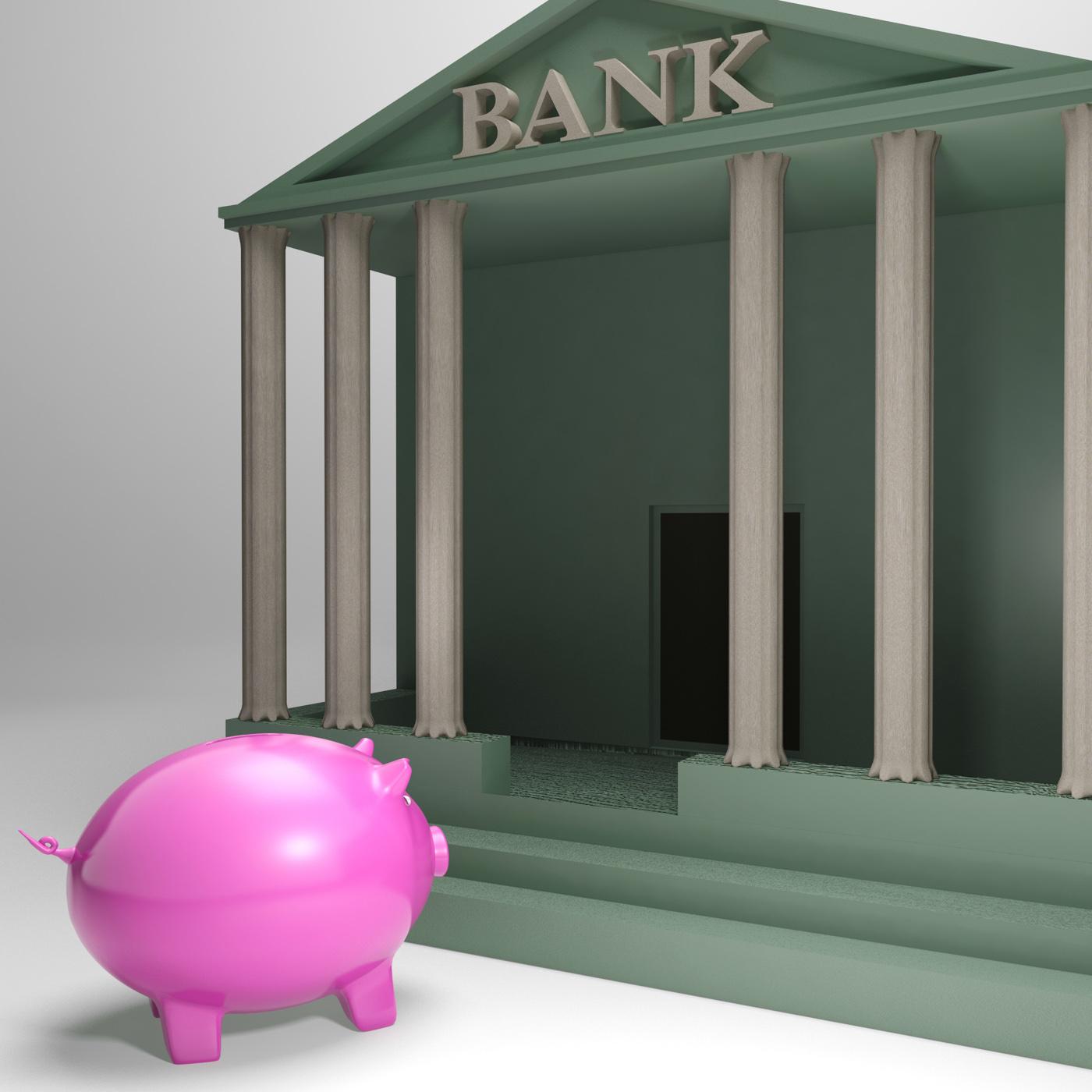 Piggybank Entering Bank Shows Money Loan, Bank, Banking, Business, Earnings, HQ Photo