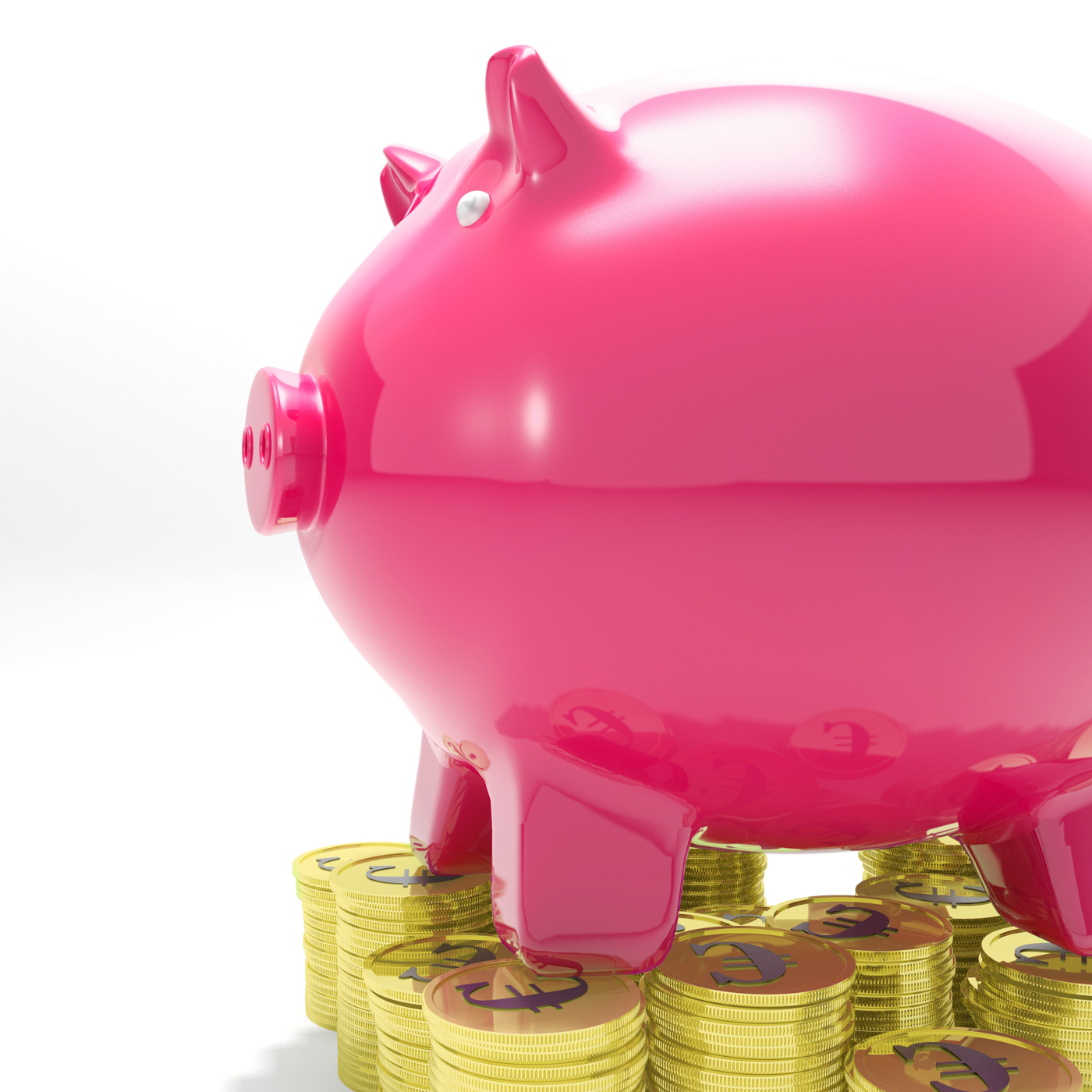 Piggybank on coins showing monetary increase photo