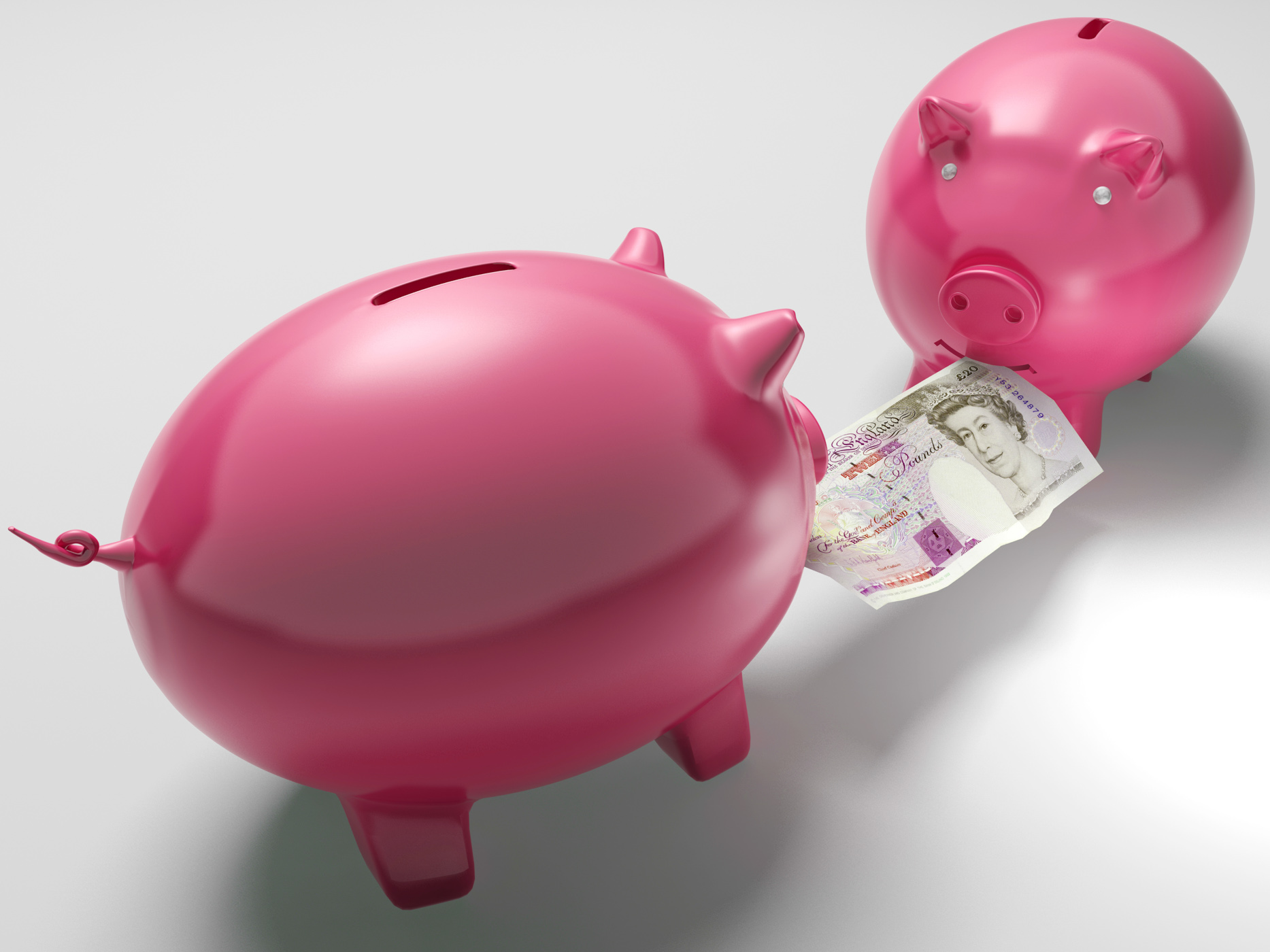 Piggybanks fighting over money shows investment decisions photo