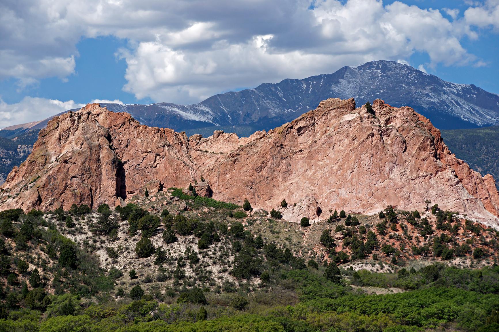 Pikes peak behind kindergarten rock photo