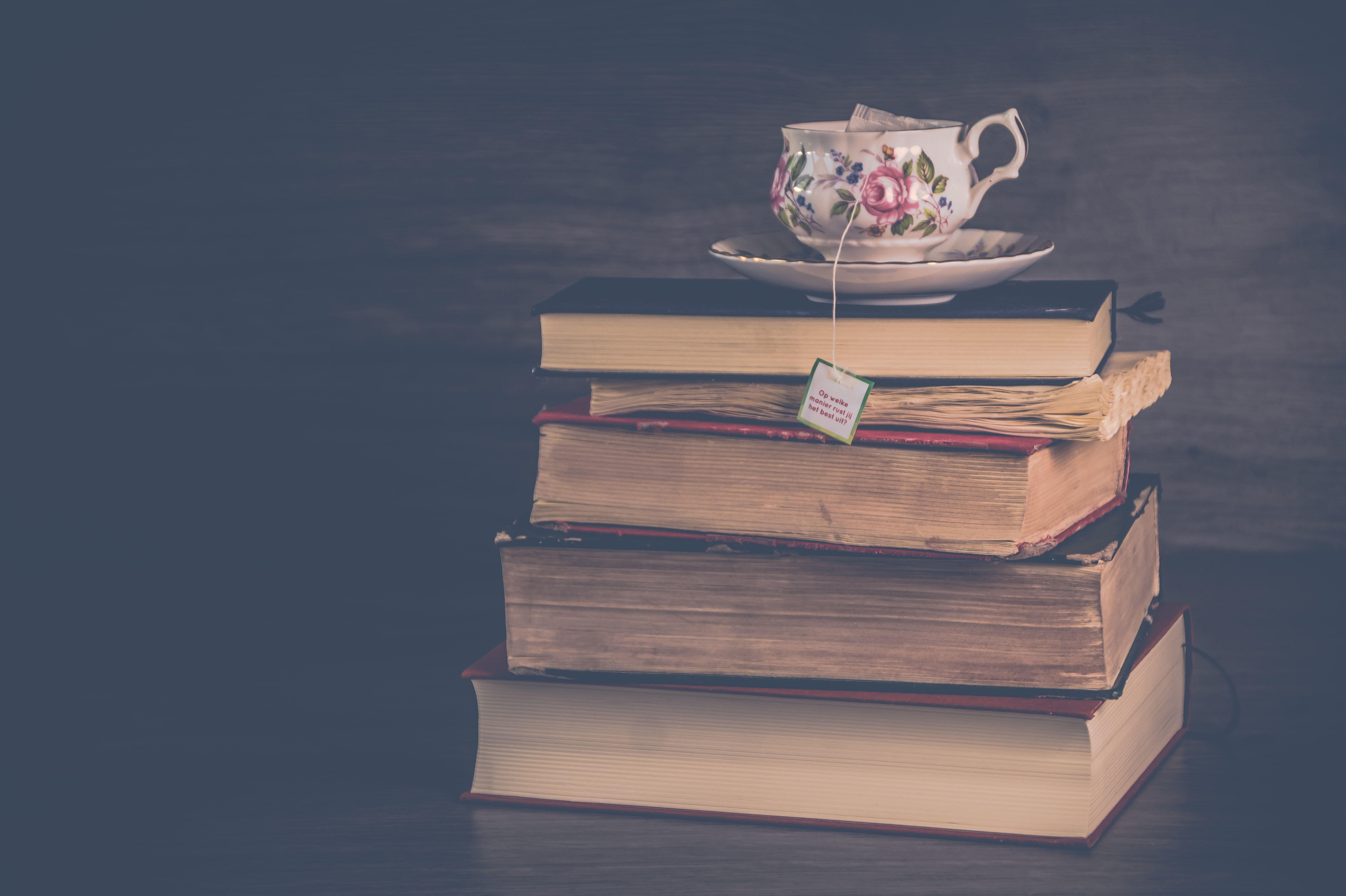 Pile of hardbound books with white and pink floral ceramic teacup and saucer photo