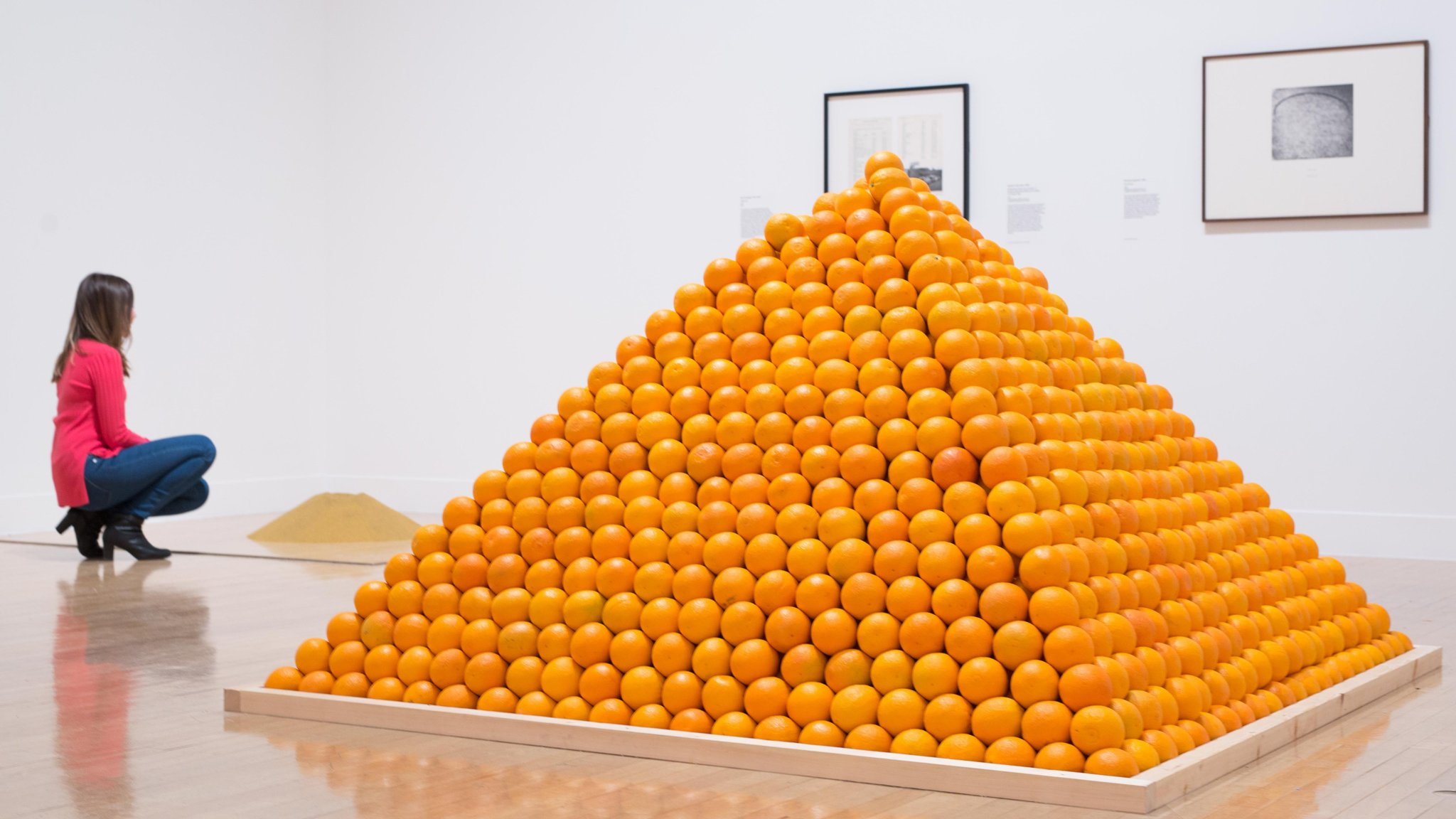 Glass of water and a pile of oranges: conceptual art on show