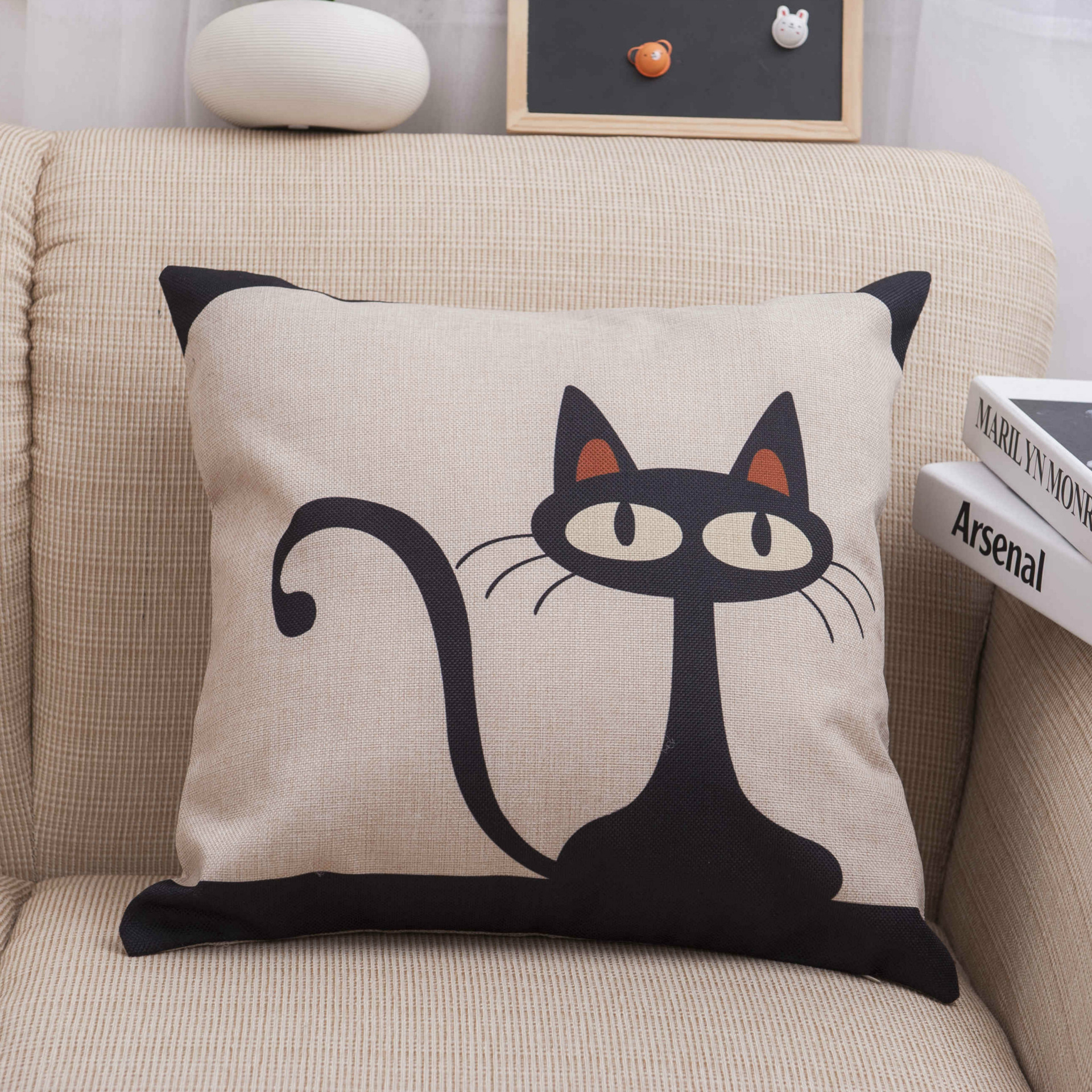 Square Cotton Linen Black Cat Animals Printed Decorative Throw ...