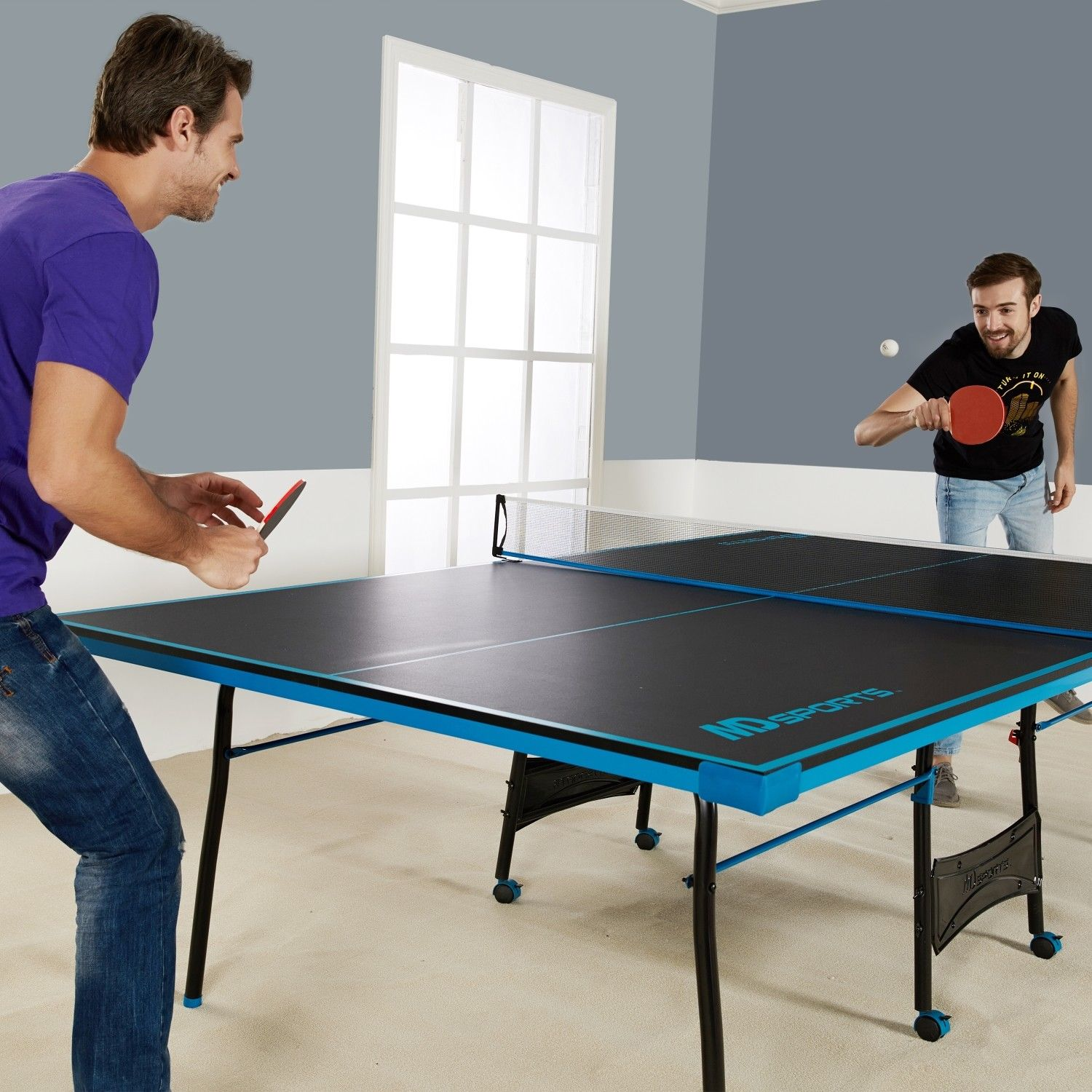 Ping Pong Table Tennis Black Blue Official Size Sports Indoor Game ...