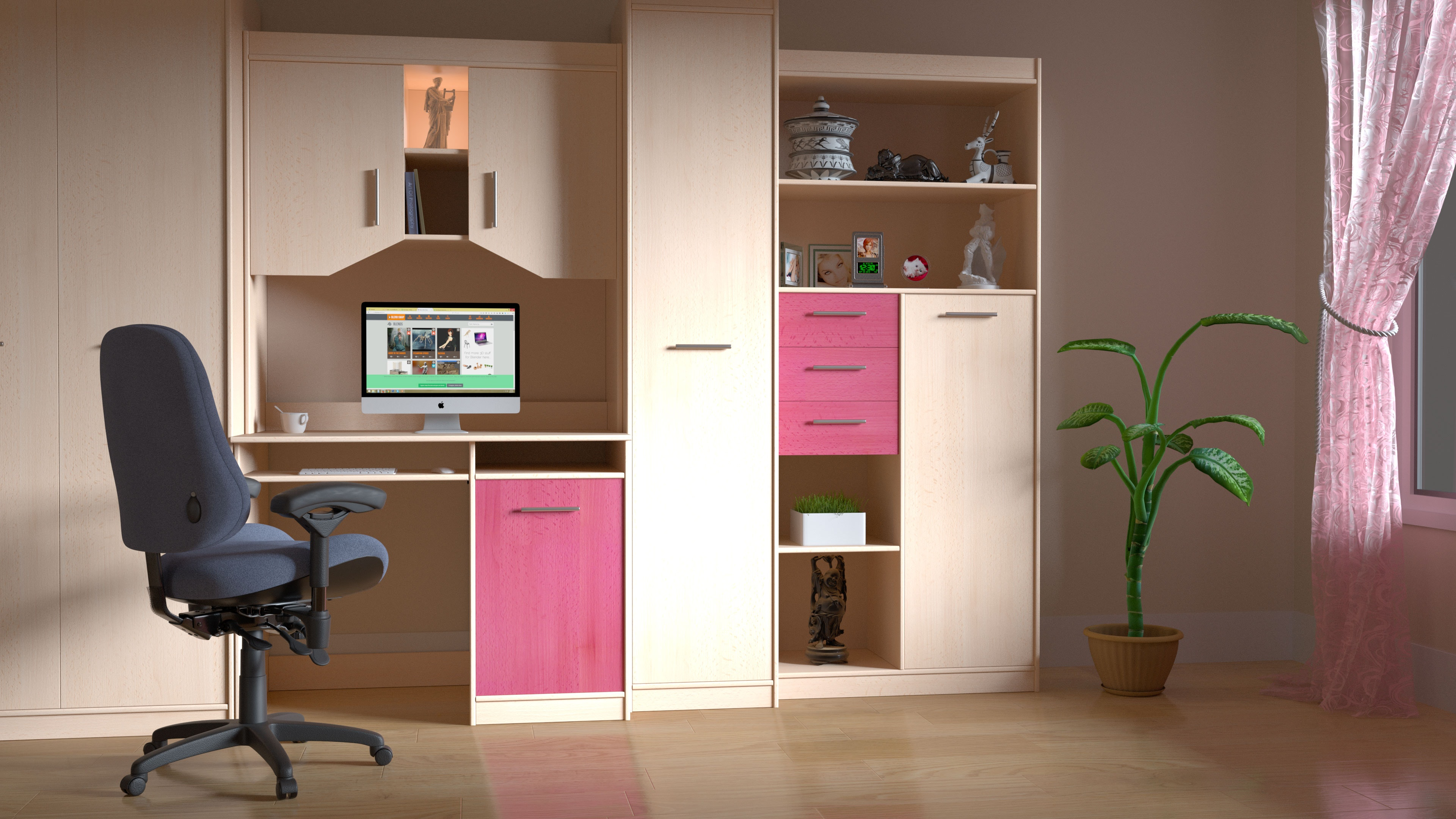 Pink and Brown Wooden Computer Desk Hutch, Chair, Computer, Floor, Furniture, HQ Photo