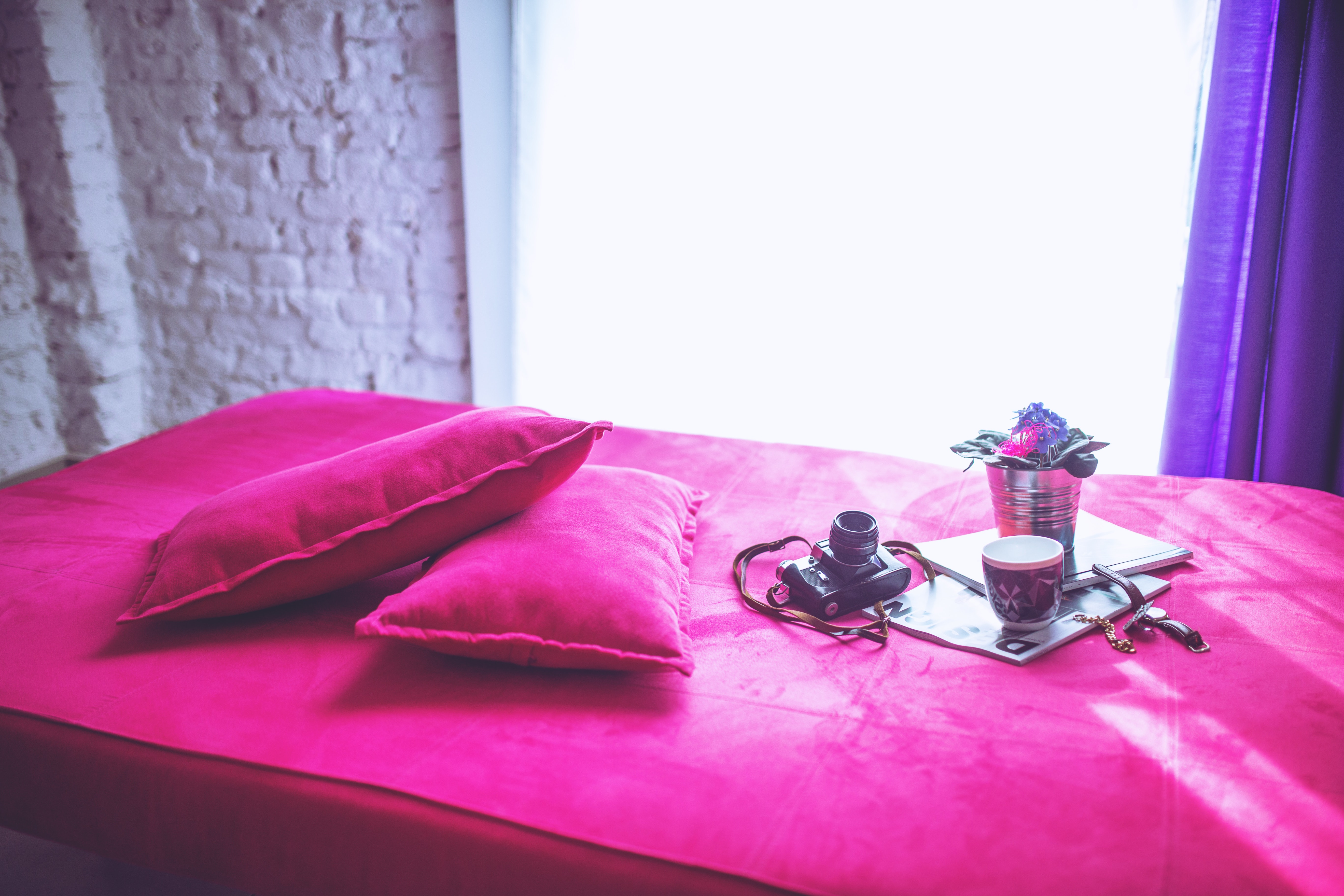 Pink bed & pillows photo