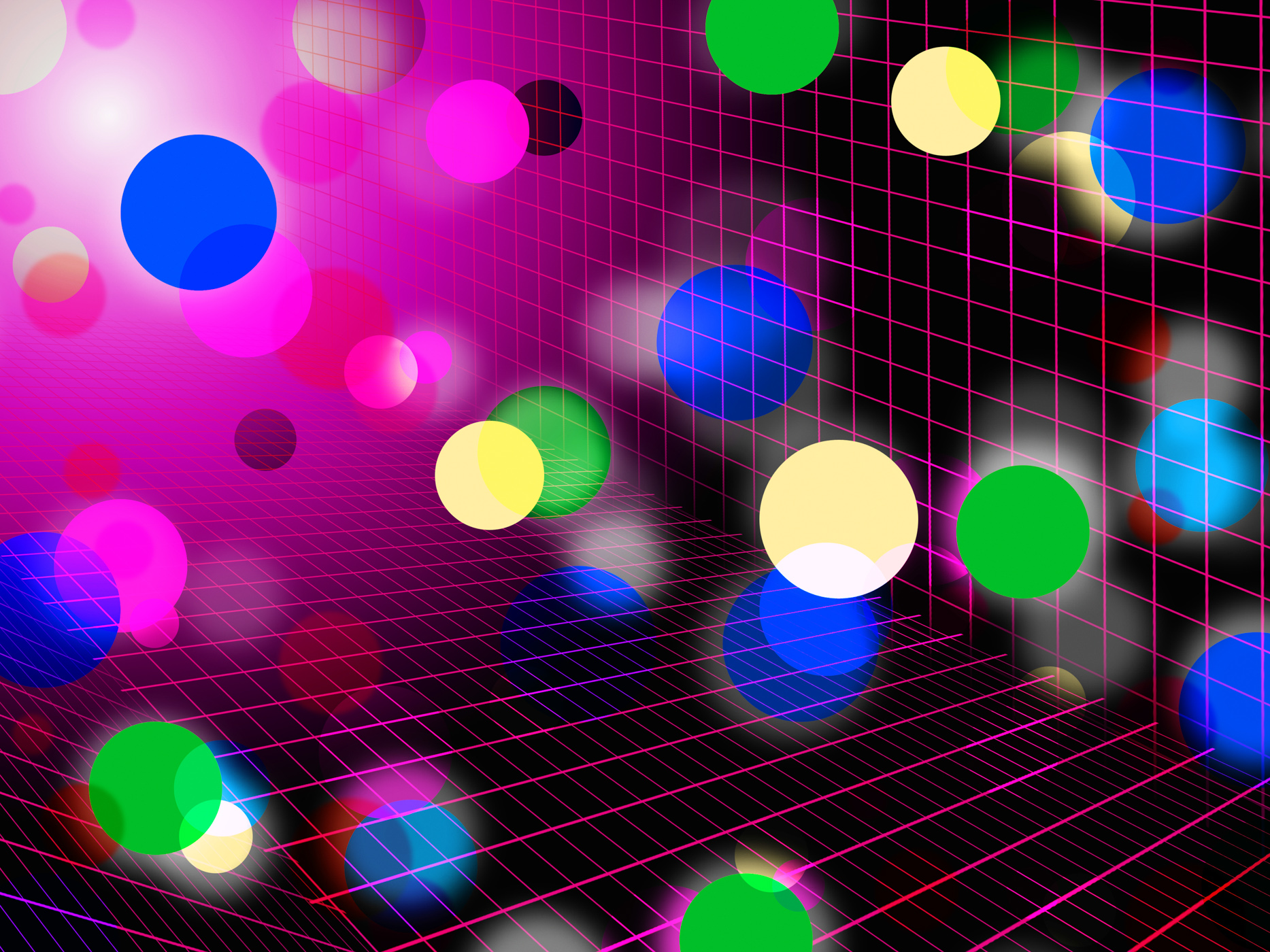 Pink bubbles background shows circles grid and shining photo
