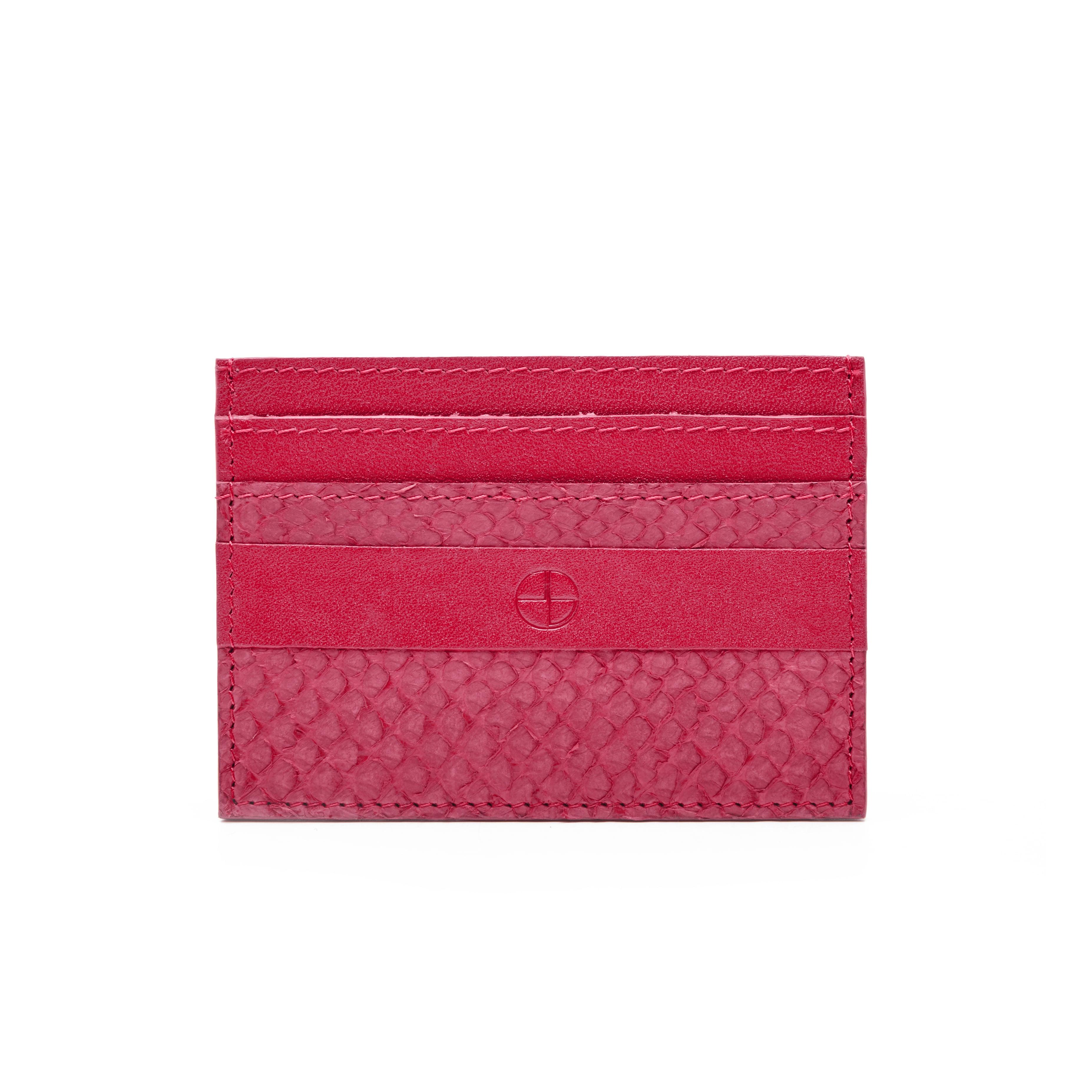 Midnight pink salmon leather credit card holder — STUDIO EBN