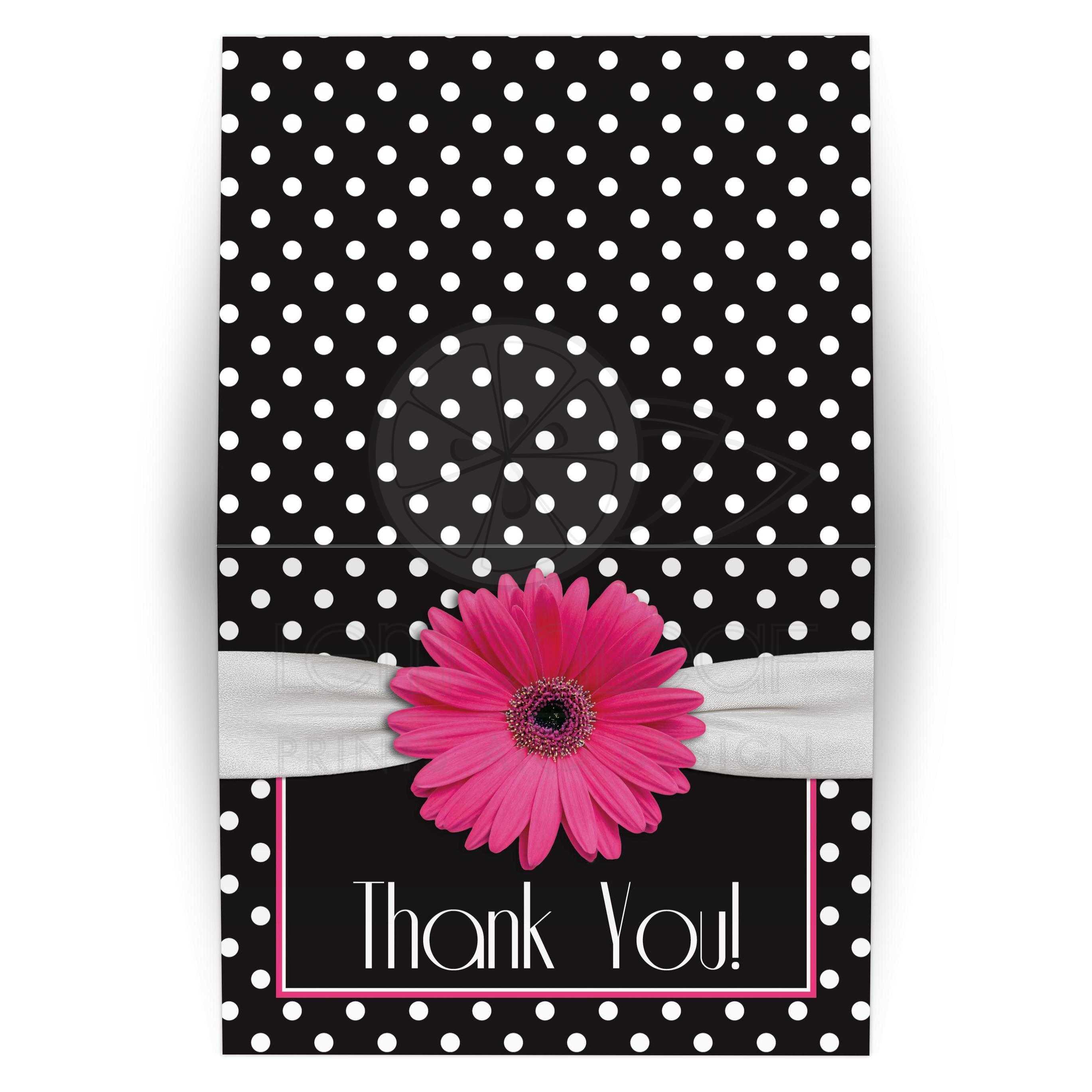 Pink Daisy Polka Dot Thank You Card | Pink Black White