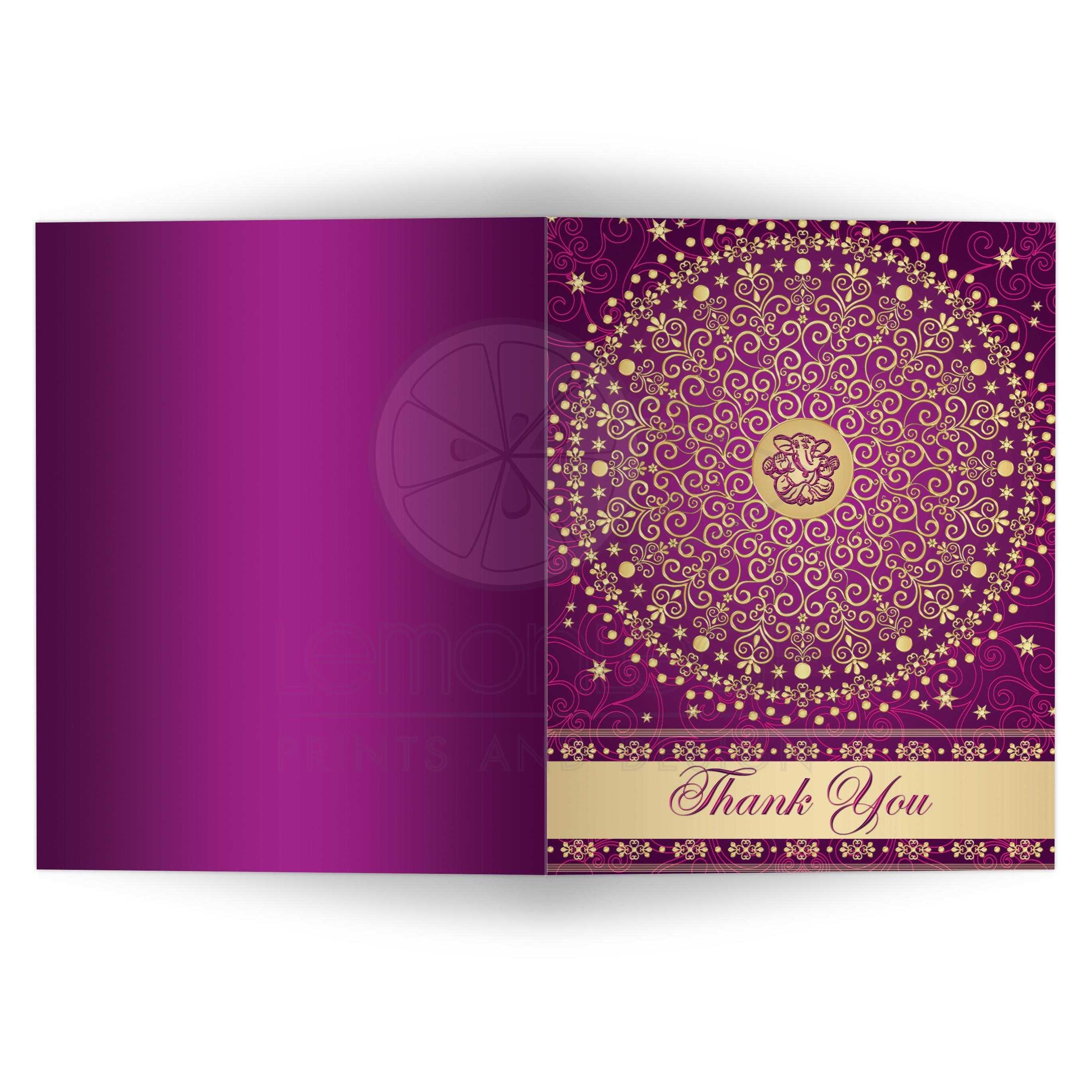 Wedding Thank You Card | Hindu Ganesh Purple, Fuchsia Pink, Gold ...