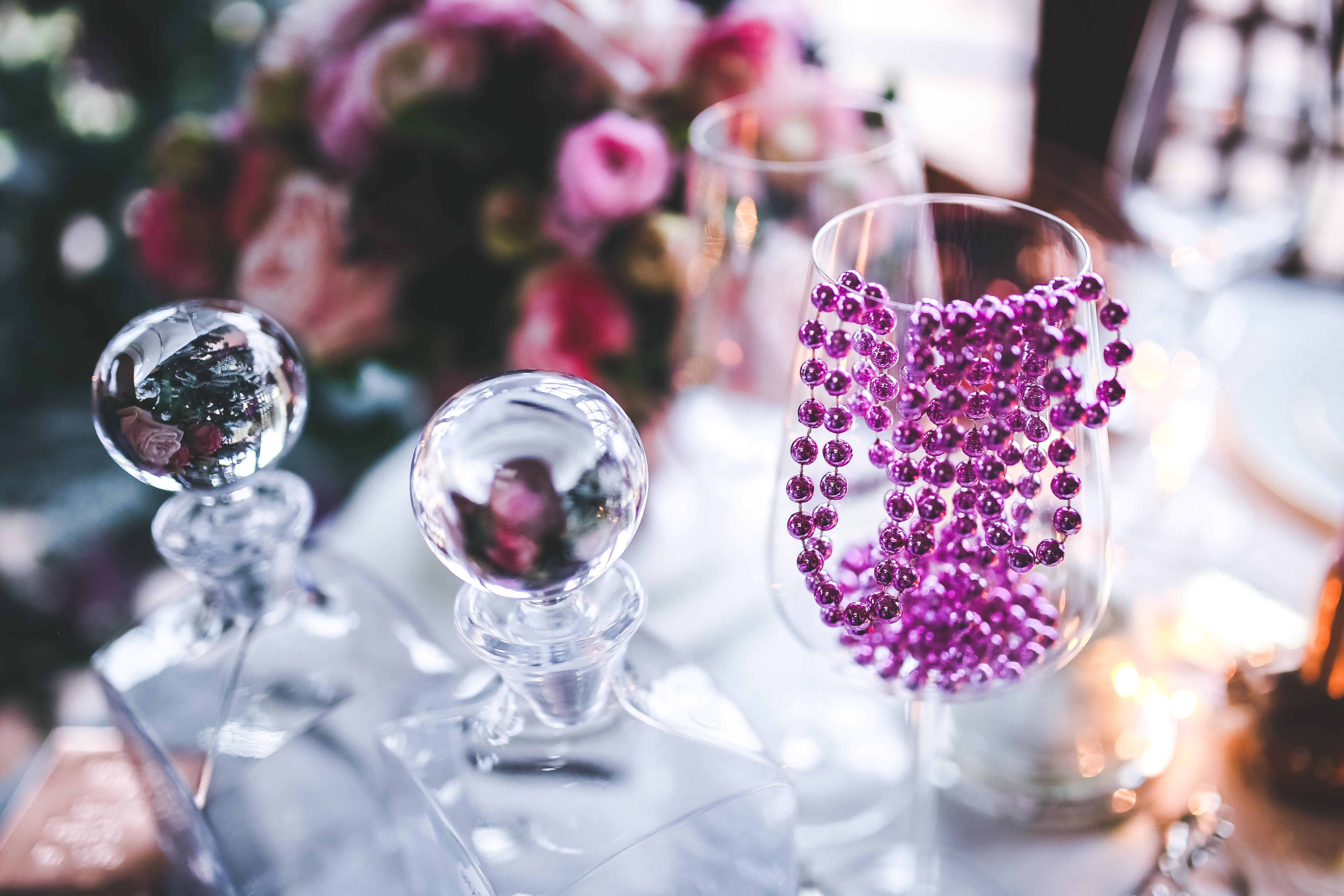 Pink Decoration on Wine Glass, Anniversary, Luxury, Wine, Wedding, HQ Photo
