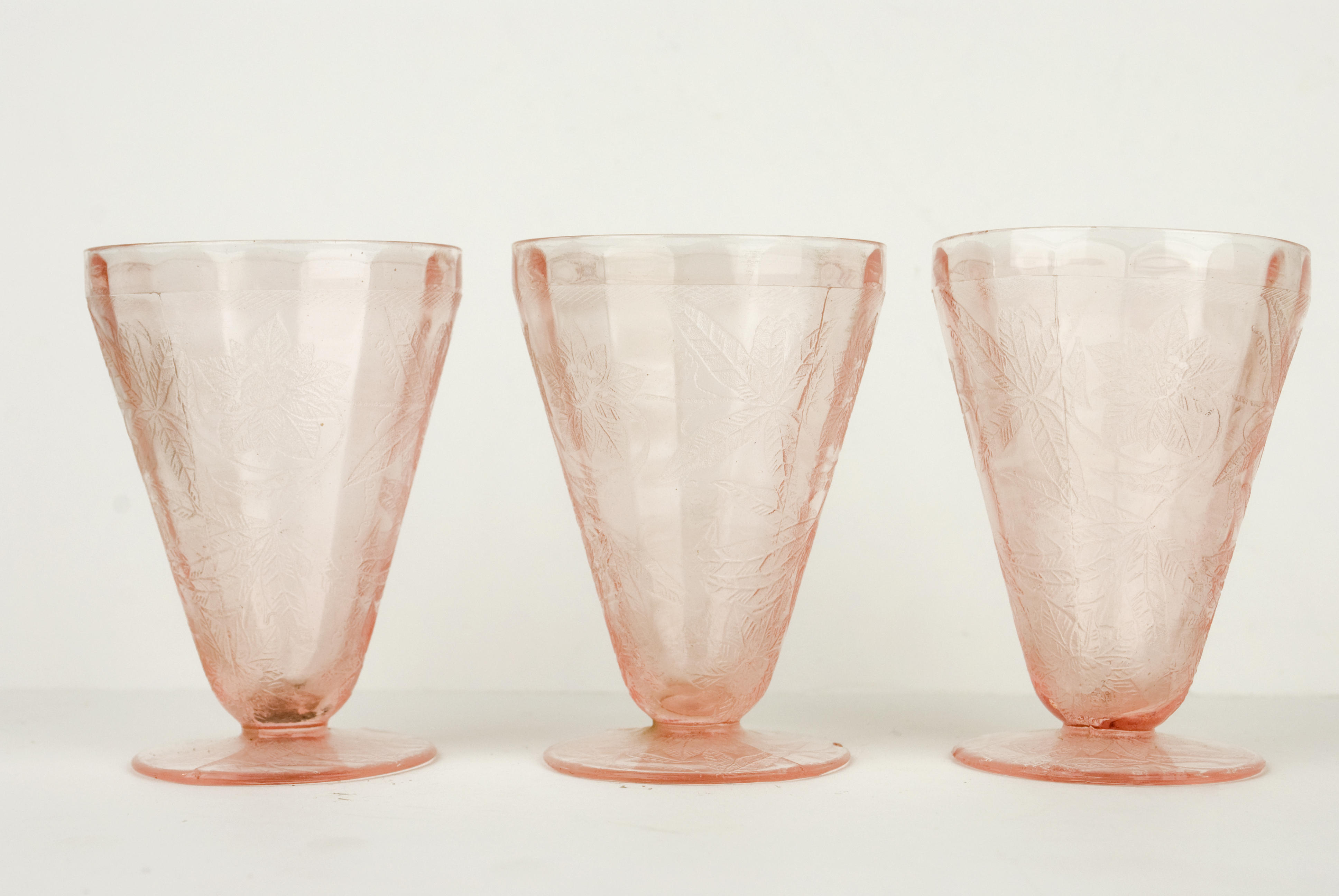 Pink depression glass photo