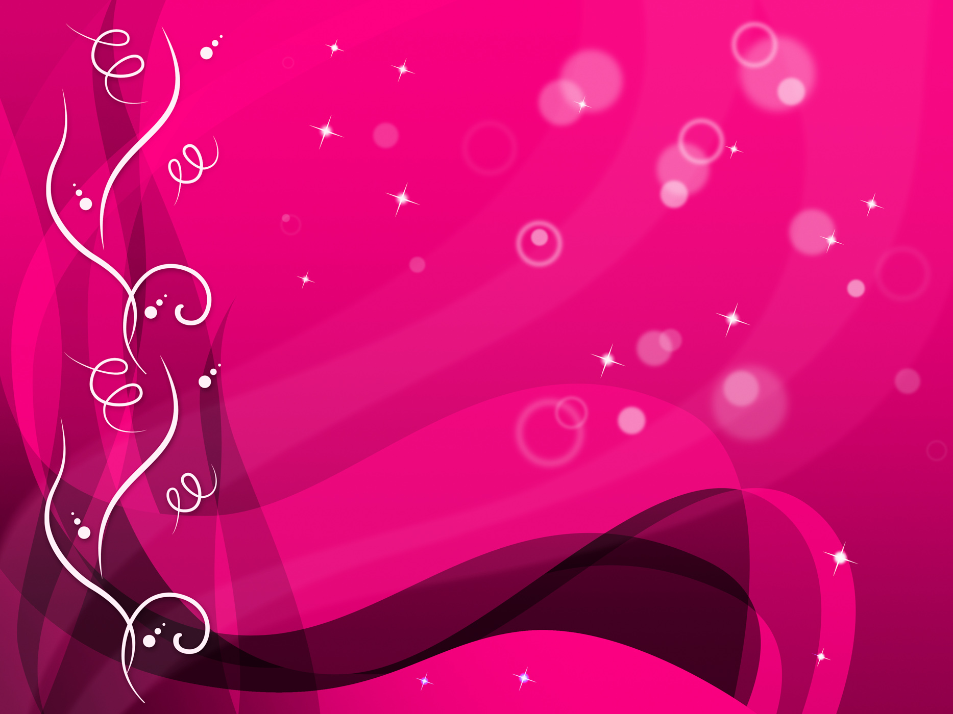 Pink floral background shows flower pattern and bubbles photo