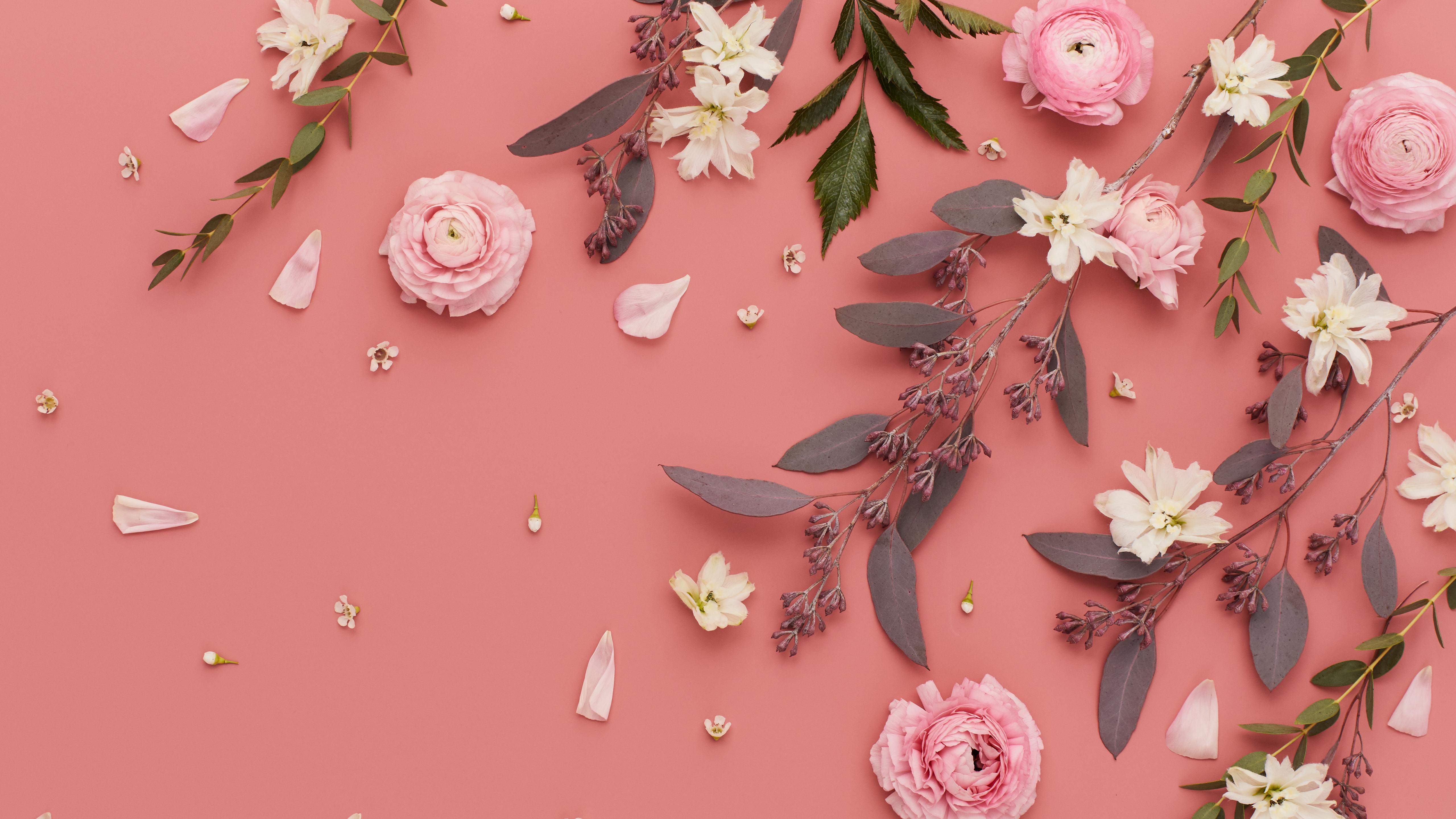 Pink Flowers Mobile + Desktop Wallpaper - Front + Main