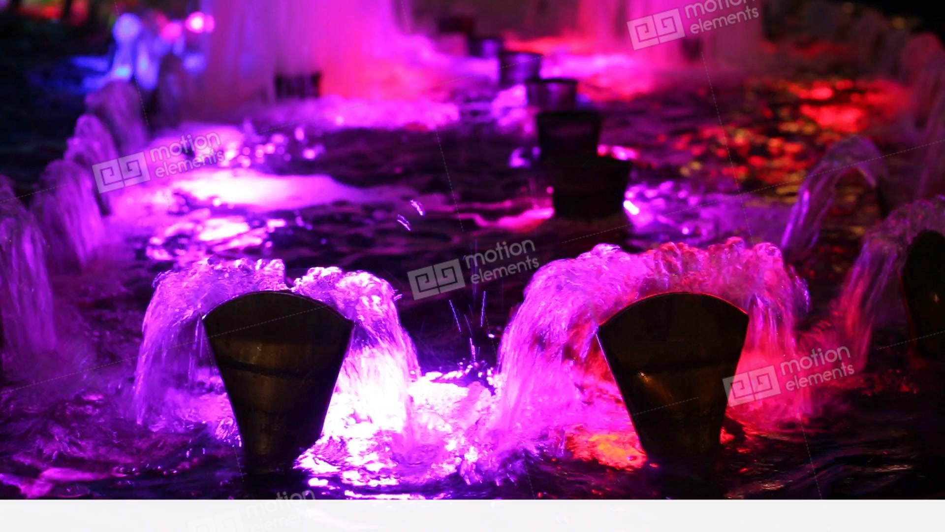 Beautiful Water Fountain Flowing At Night Stock video footage   11397832