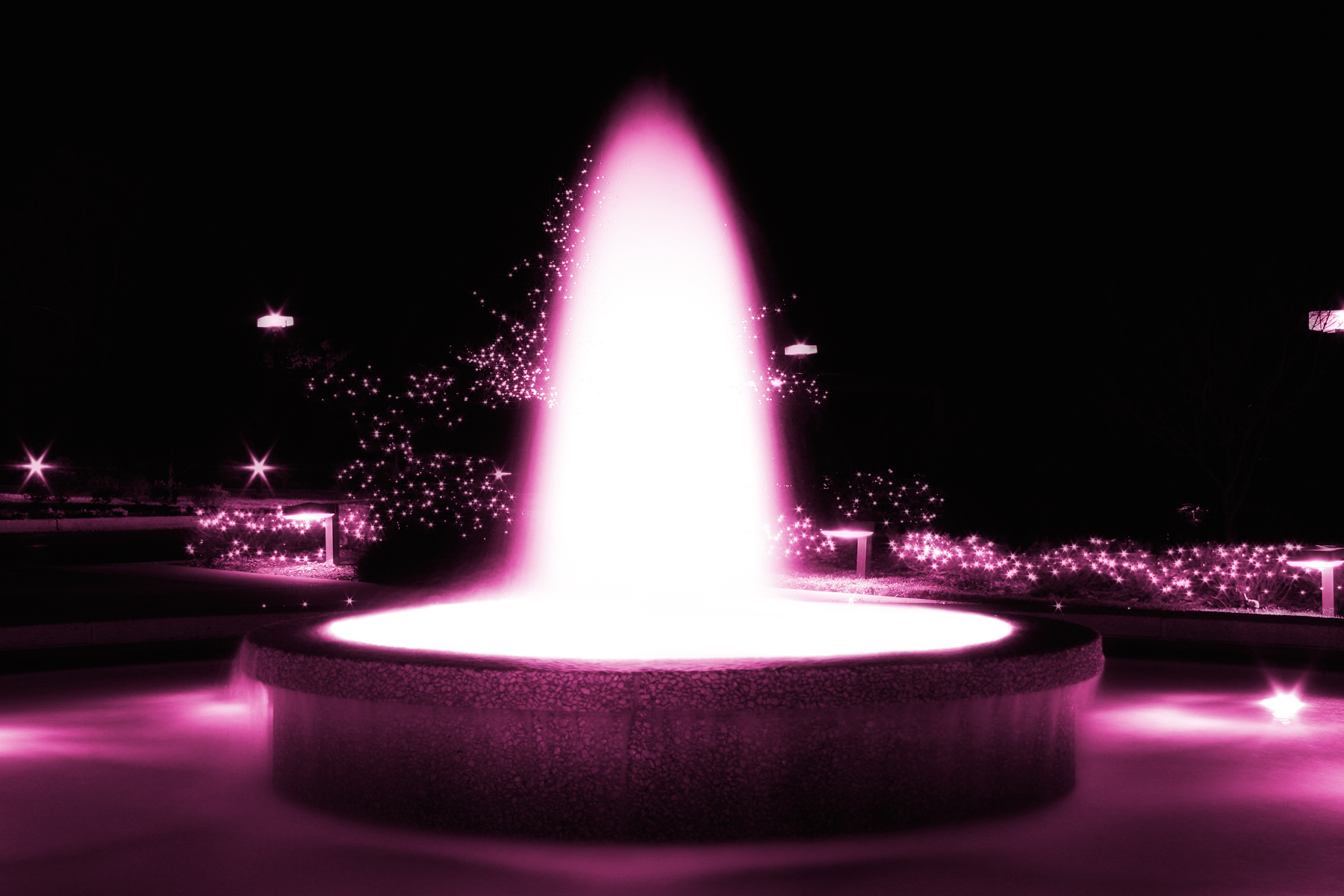 Pink Glowing Fountain, Abstract, Resource, Monotone, Night, HQ Photo