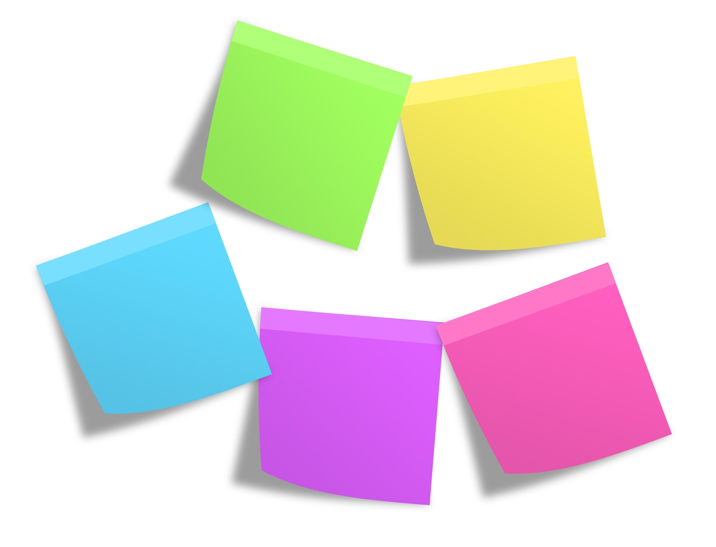 Pink green yellow blue and purple sticky note mounted on white painted wall photo