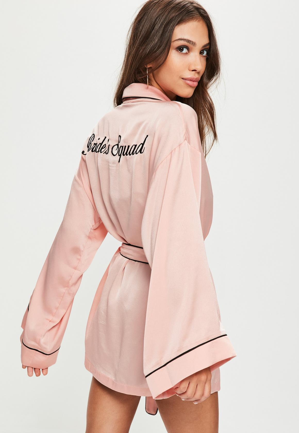 Pink Satin Embroidered Piped Robe | Missguided