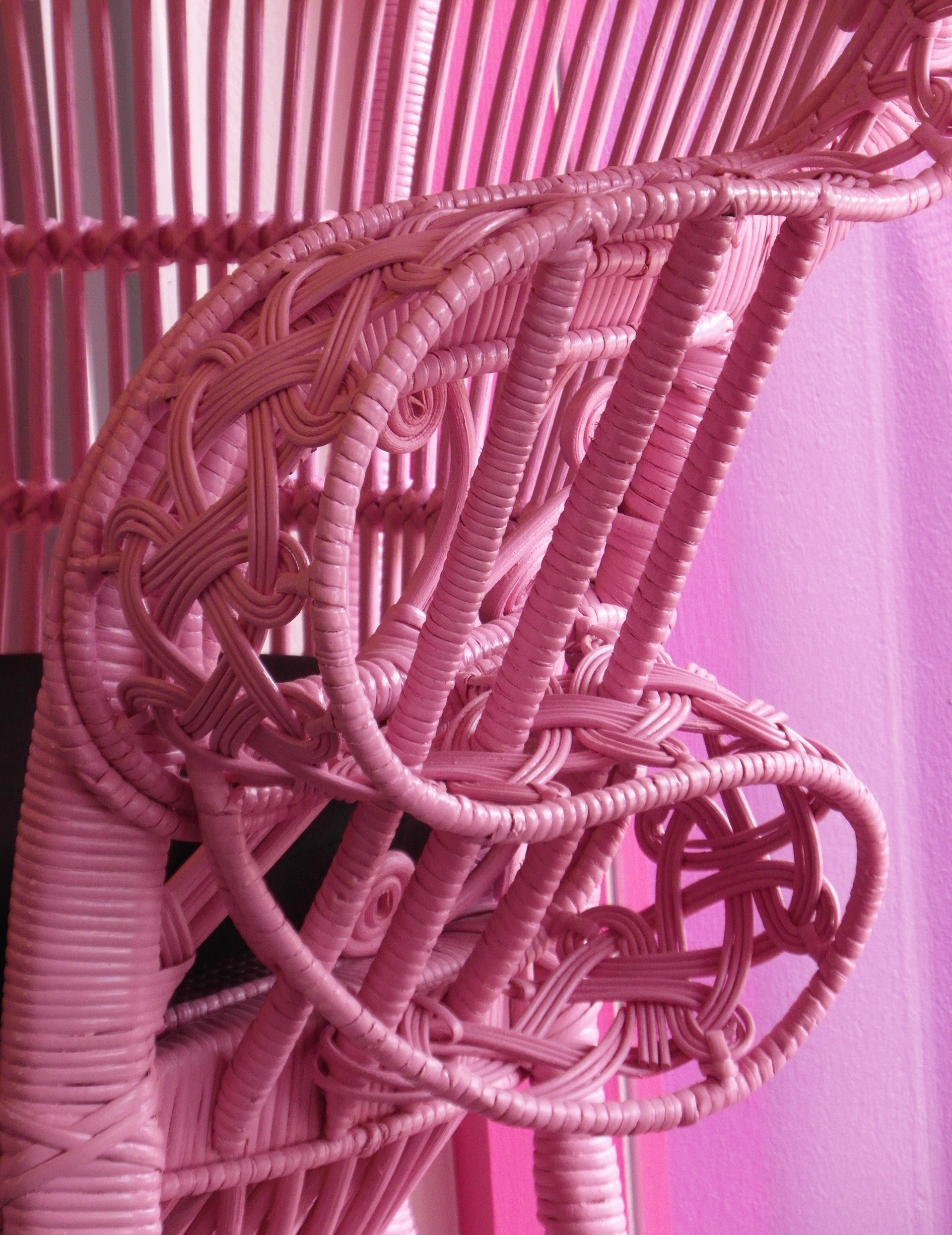 Pink wicker chair photo