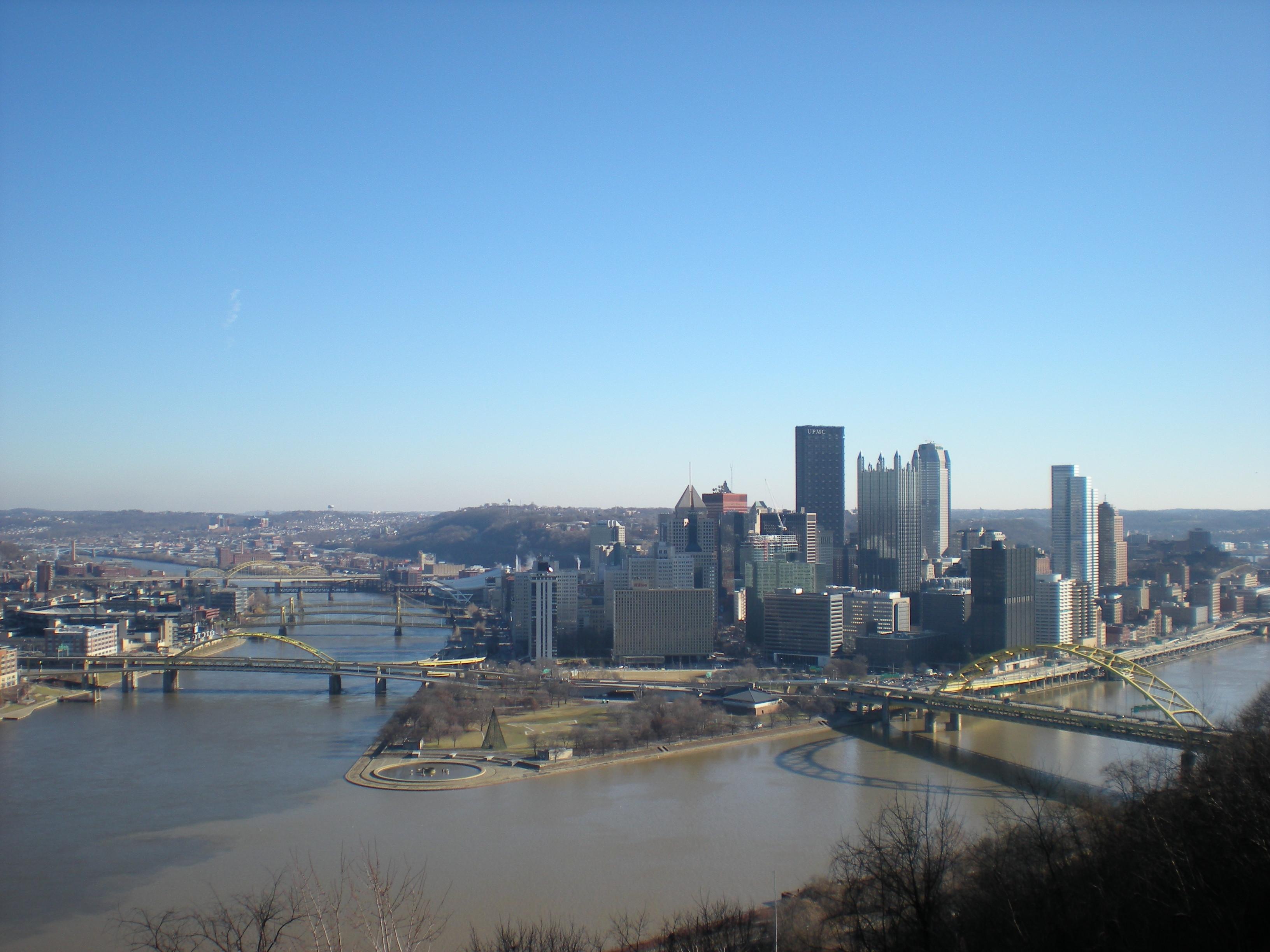 Pittsburgh winter skyline photo